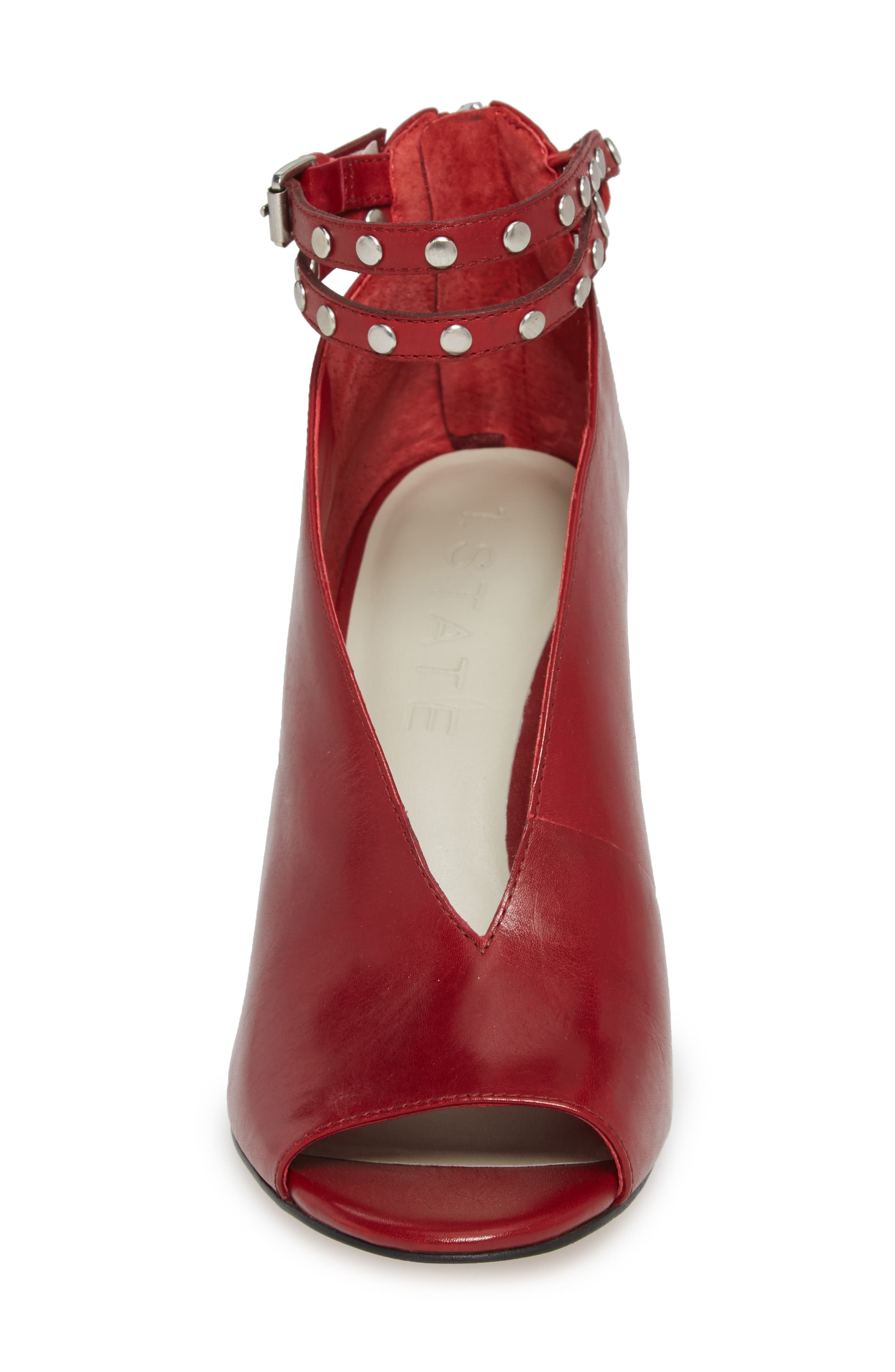 1. STATE Sall Ankle Strap Open Toe Pump,                             Alternate thumbnail 4, color,                             Scarlet Leather