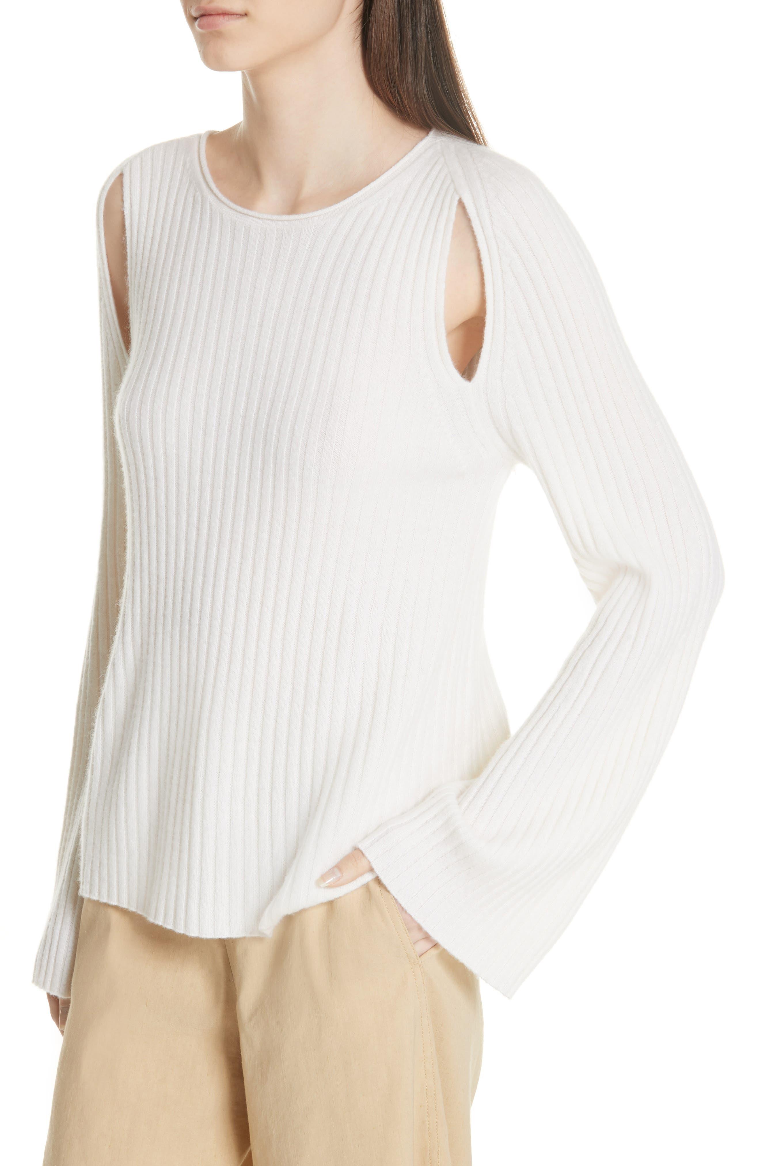Shoulder Slit Cashmere Crewneck Sweater,                             Alternate thumbnail 4, color,                             Off White