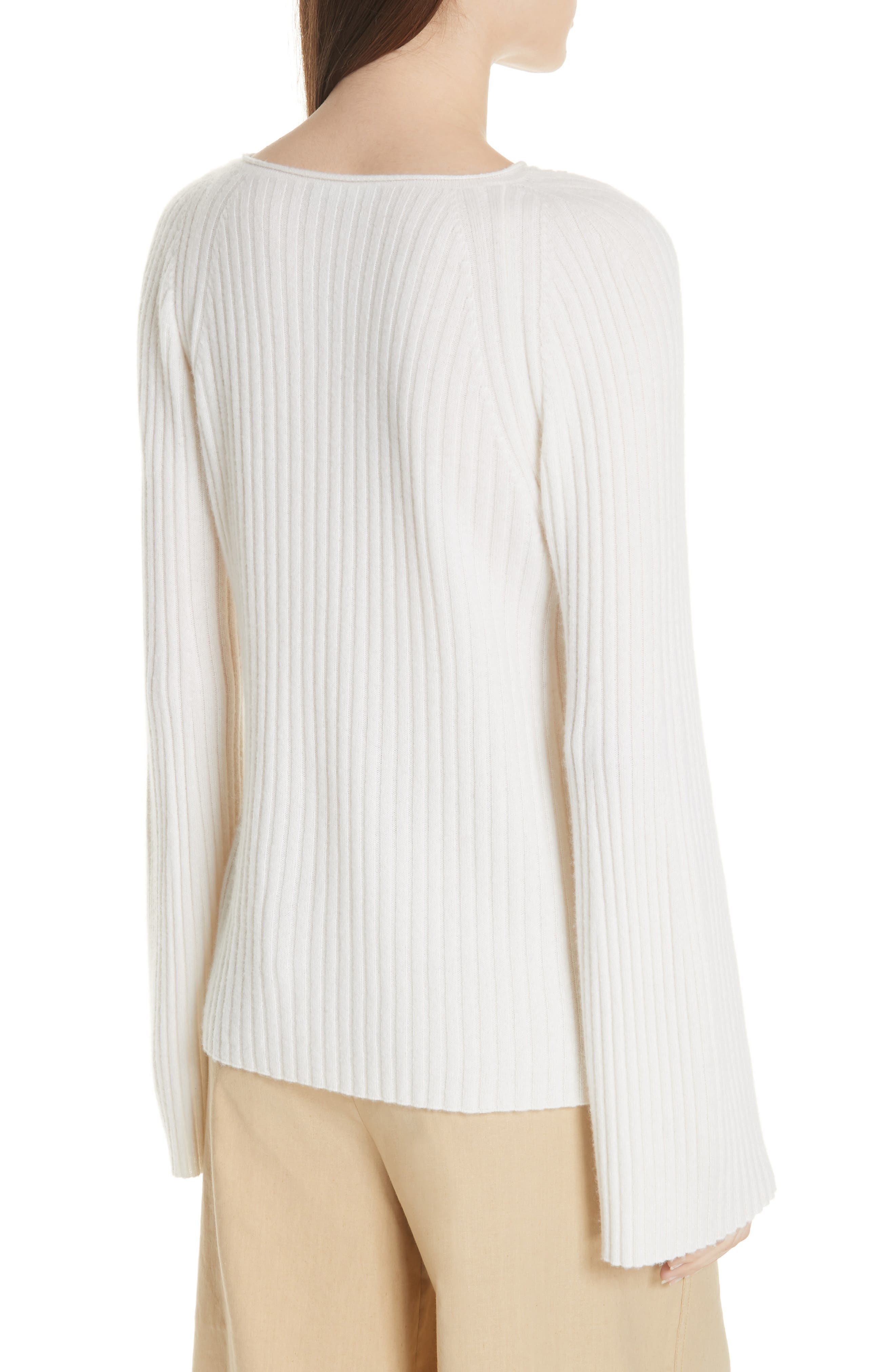 Shoulder Slit Cashmere Crewneck Sweater,                             Alternate thumbnail 2, color,                             Off White