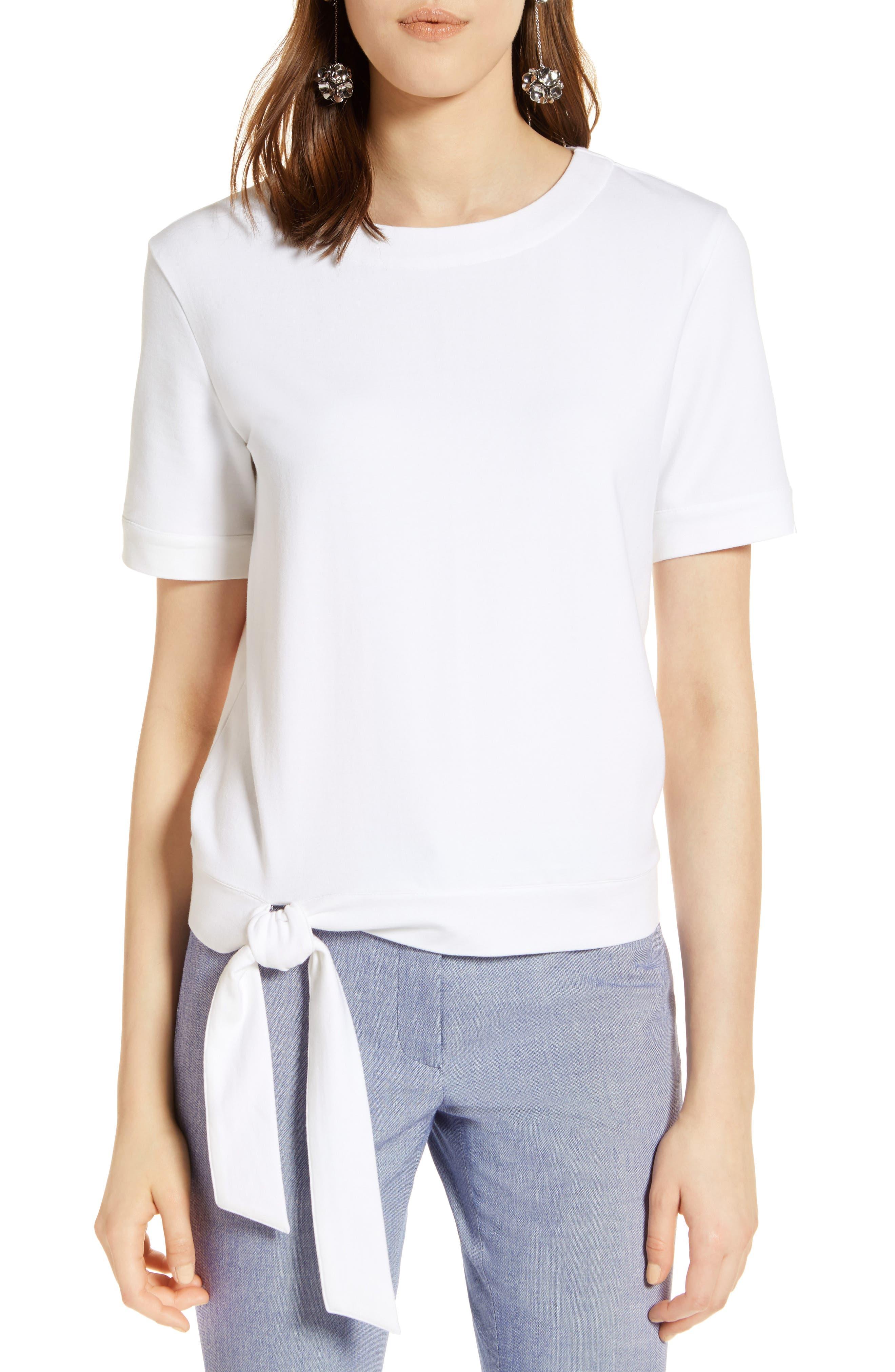Halogen® Side Tie Knit Top (Regular & Petite)