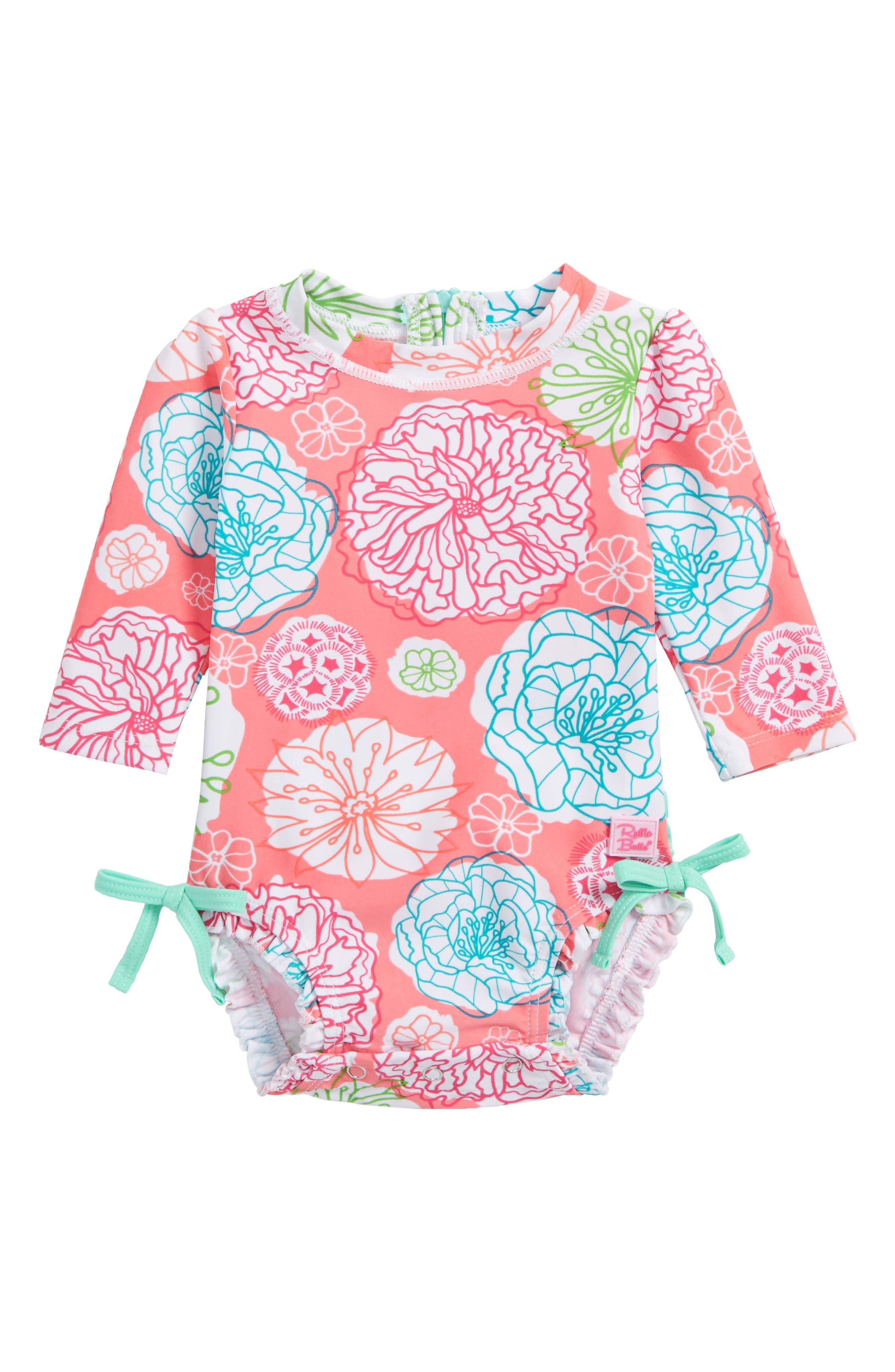 RuffleButts Tropical Garden One-Piece Rashguard (Baby Girls)