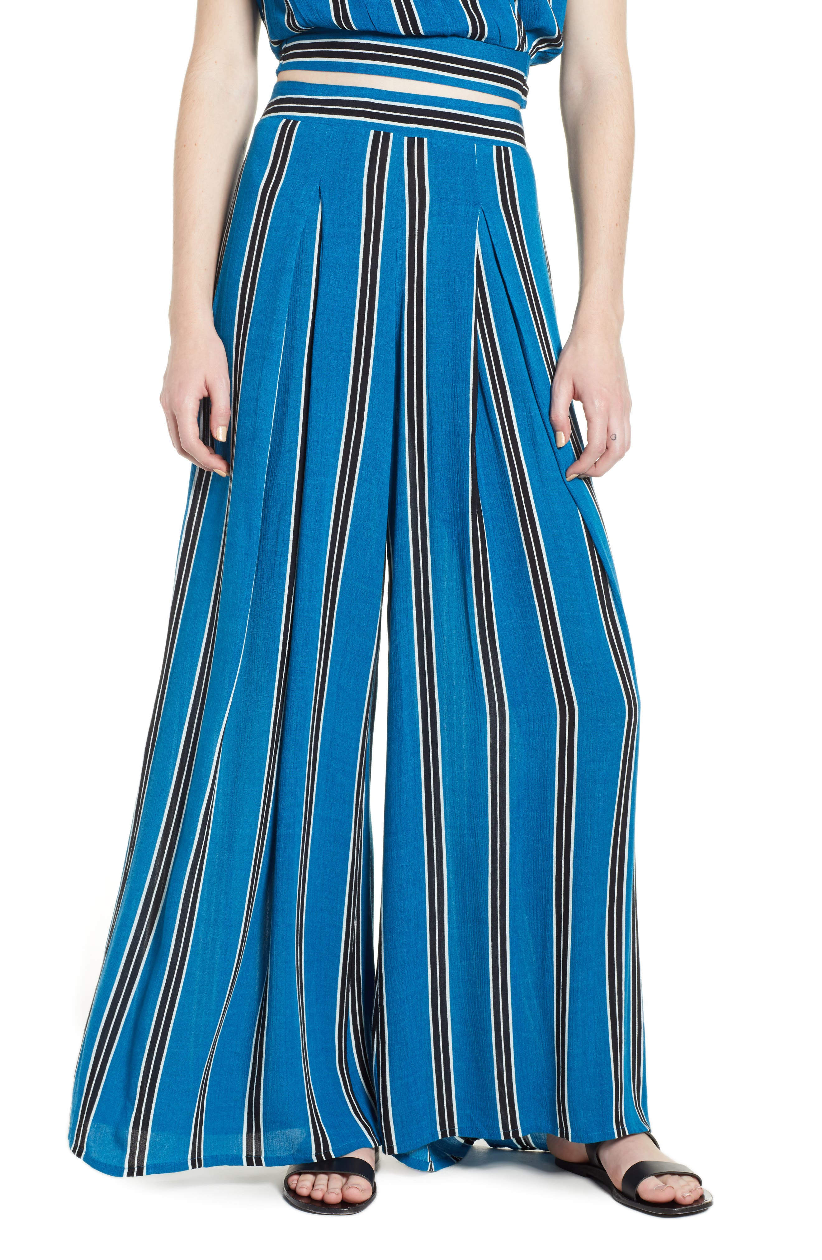 Stripe Wide Leg Pants,                             Main thumbnail 1, color,                             Blue/ Black