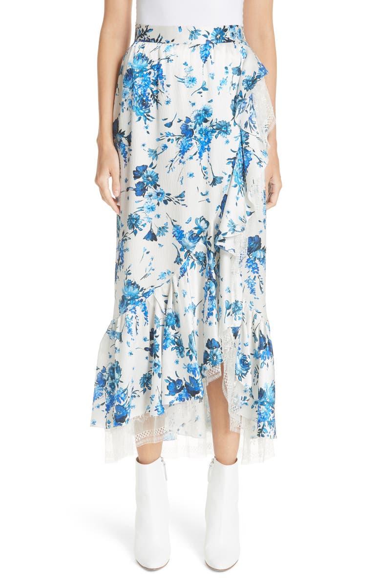 Ruffle Detail Silk Skirt