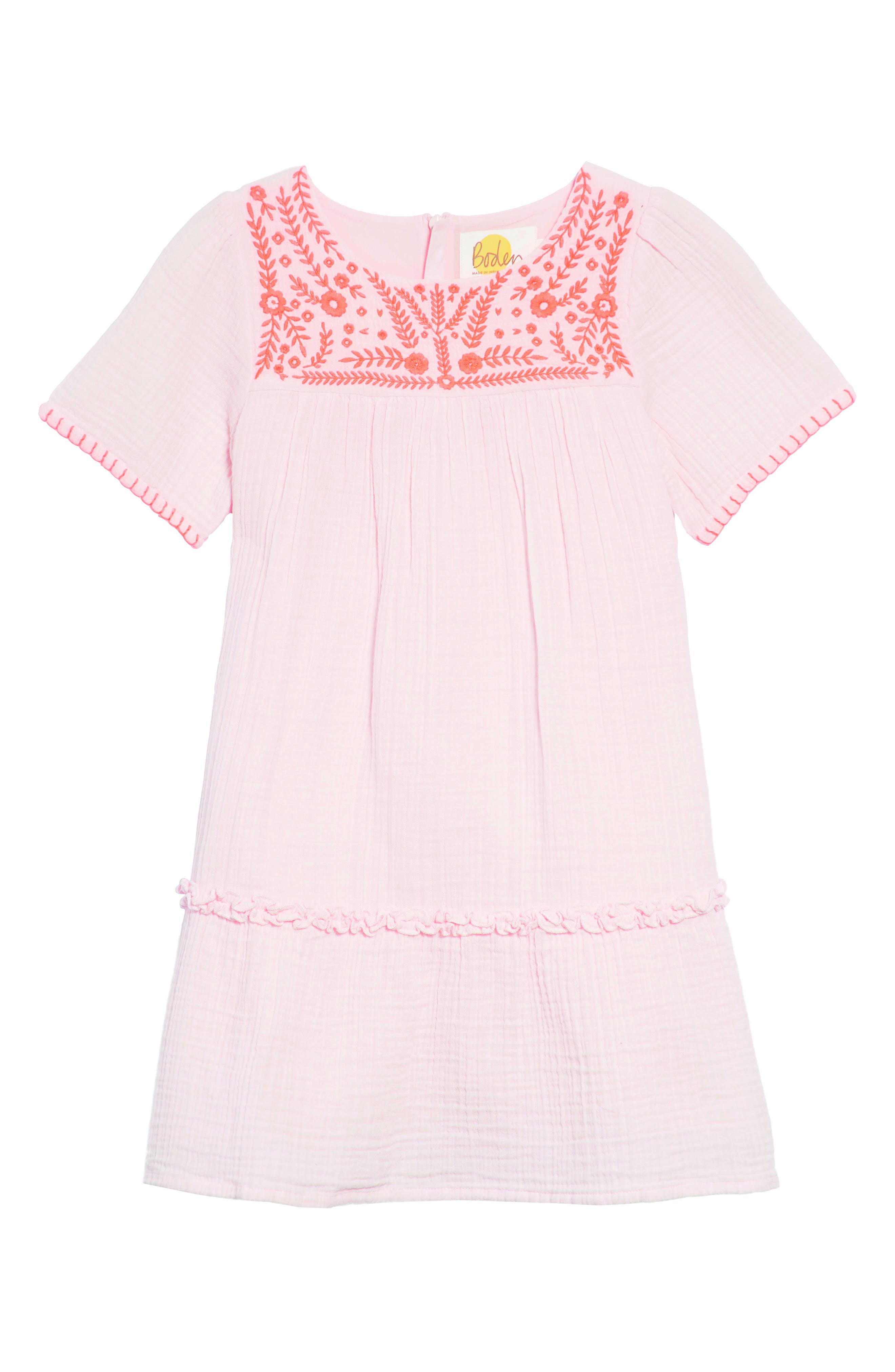 Embroidered Woven Caftan Dress,                         Main,                         color, Pink Mist