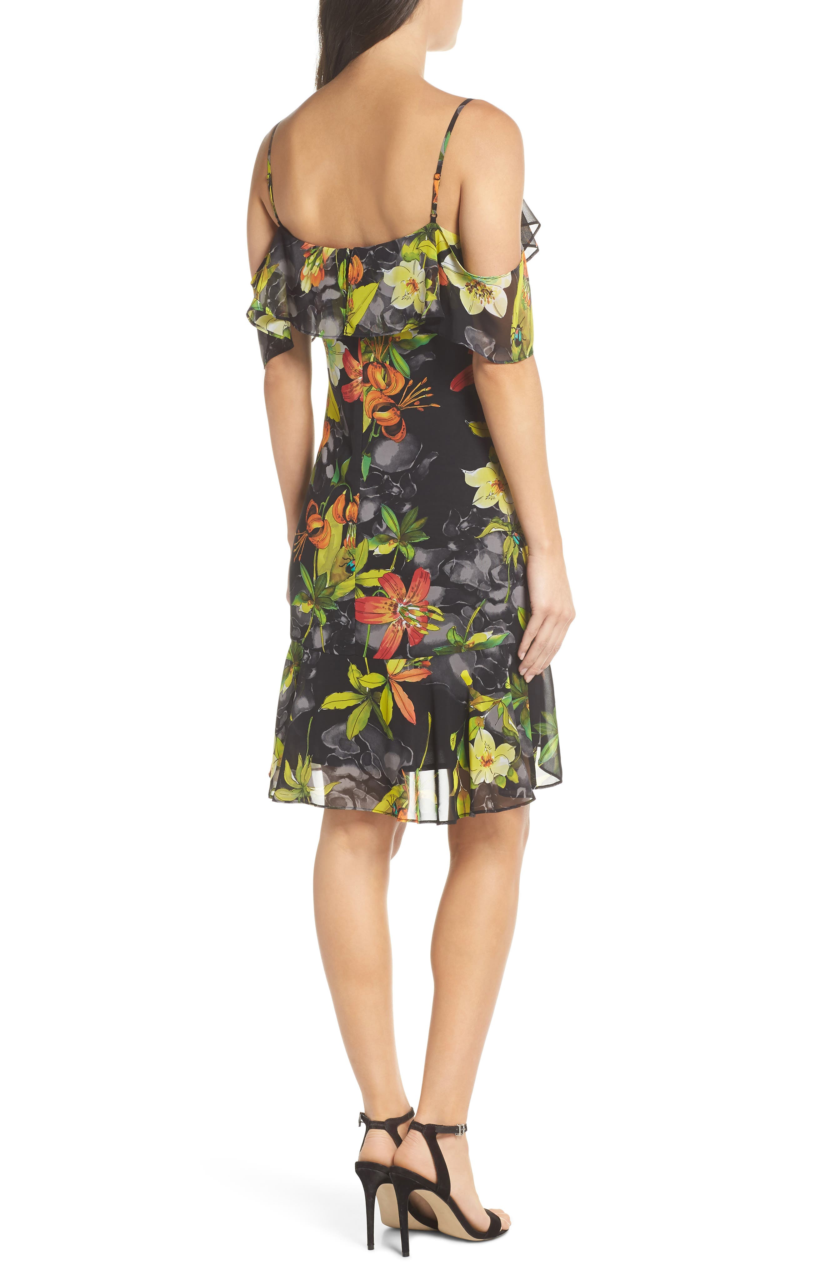 Print Cold Shoulder Chiffon Dress,                             Alternate thumbnail 2, color,                             Black/ Red