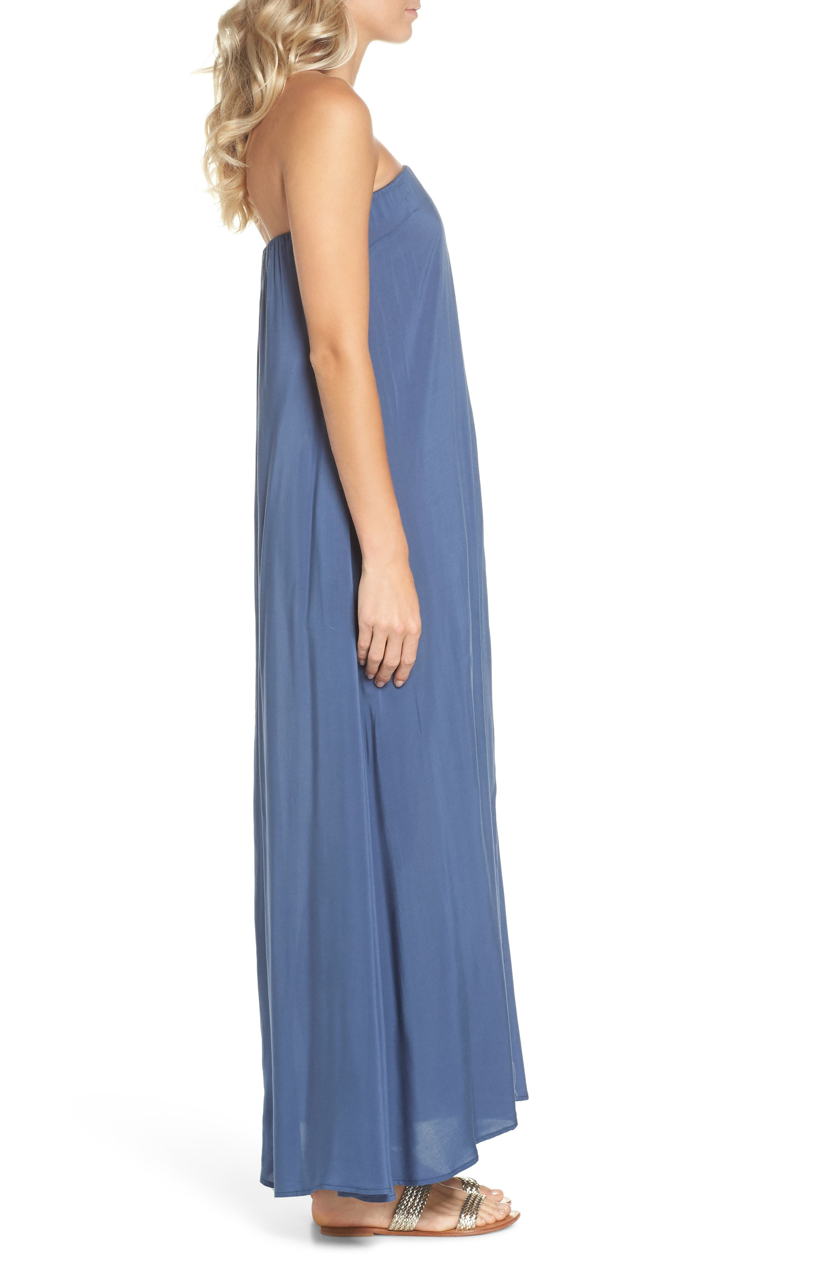 Strapless Keyhole Cover-Up Maxi Dress,                             Alternate thumbnail 3, color,                             Indigo