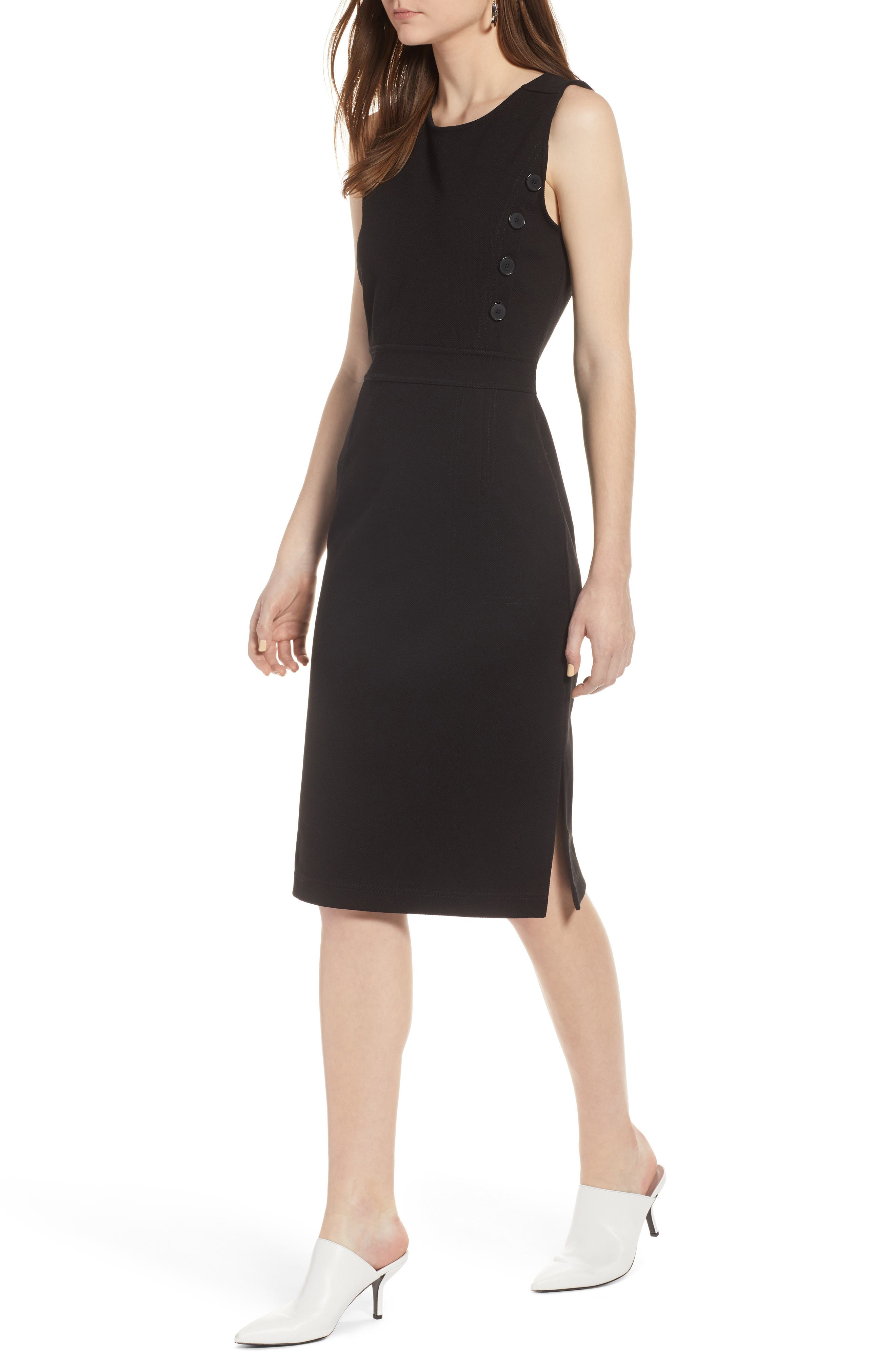 Knit Sheath Dress,                             Main thumbnail 1, color,                             Black