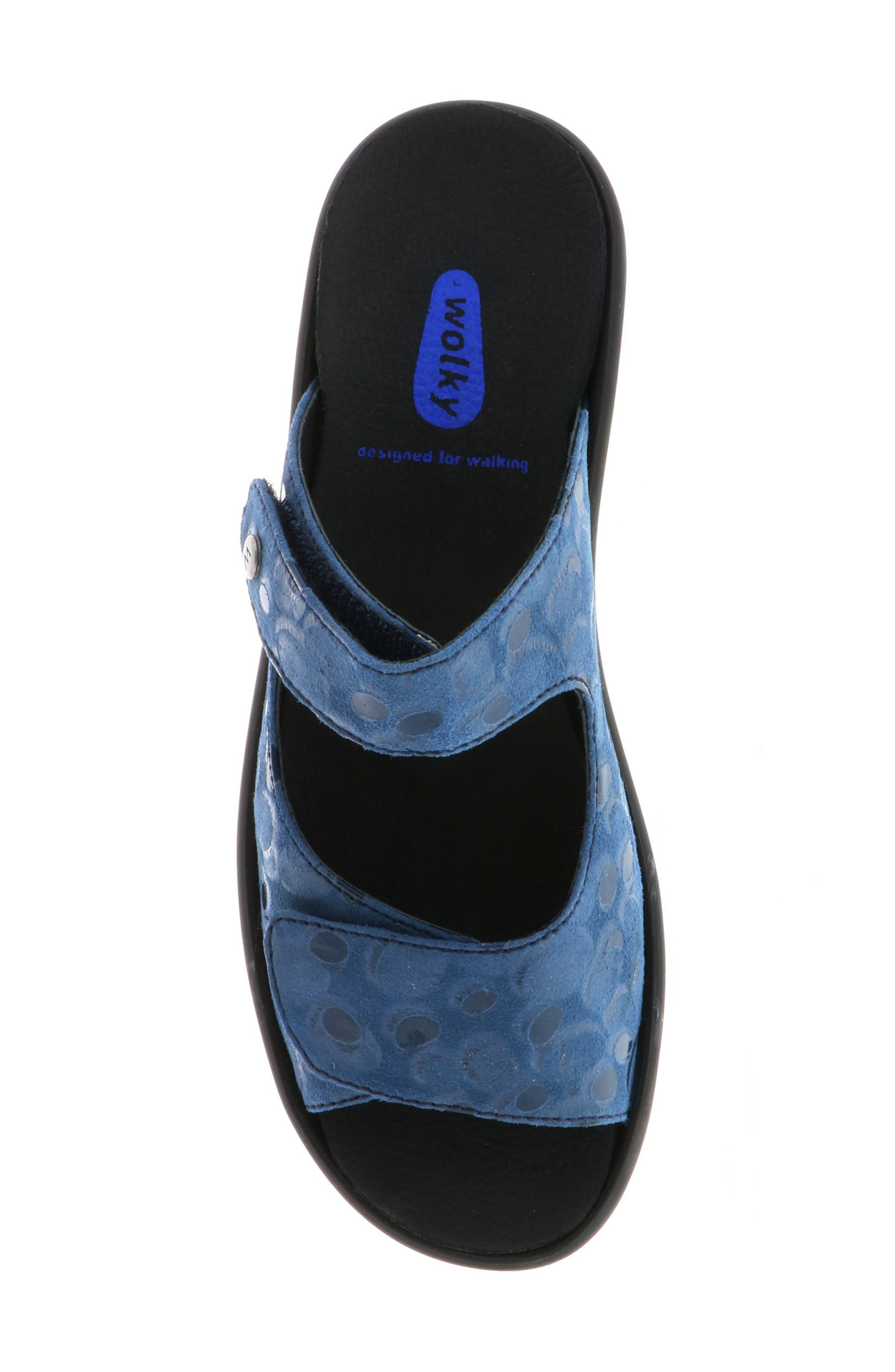 Bolena Slide Sandal,                             Alternate thumbnail 5, color,                             Blue Circle Print