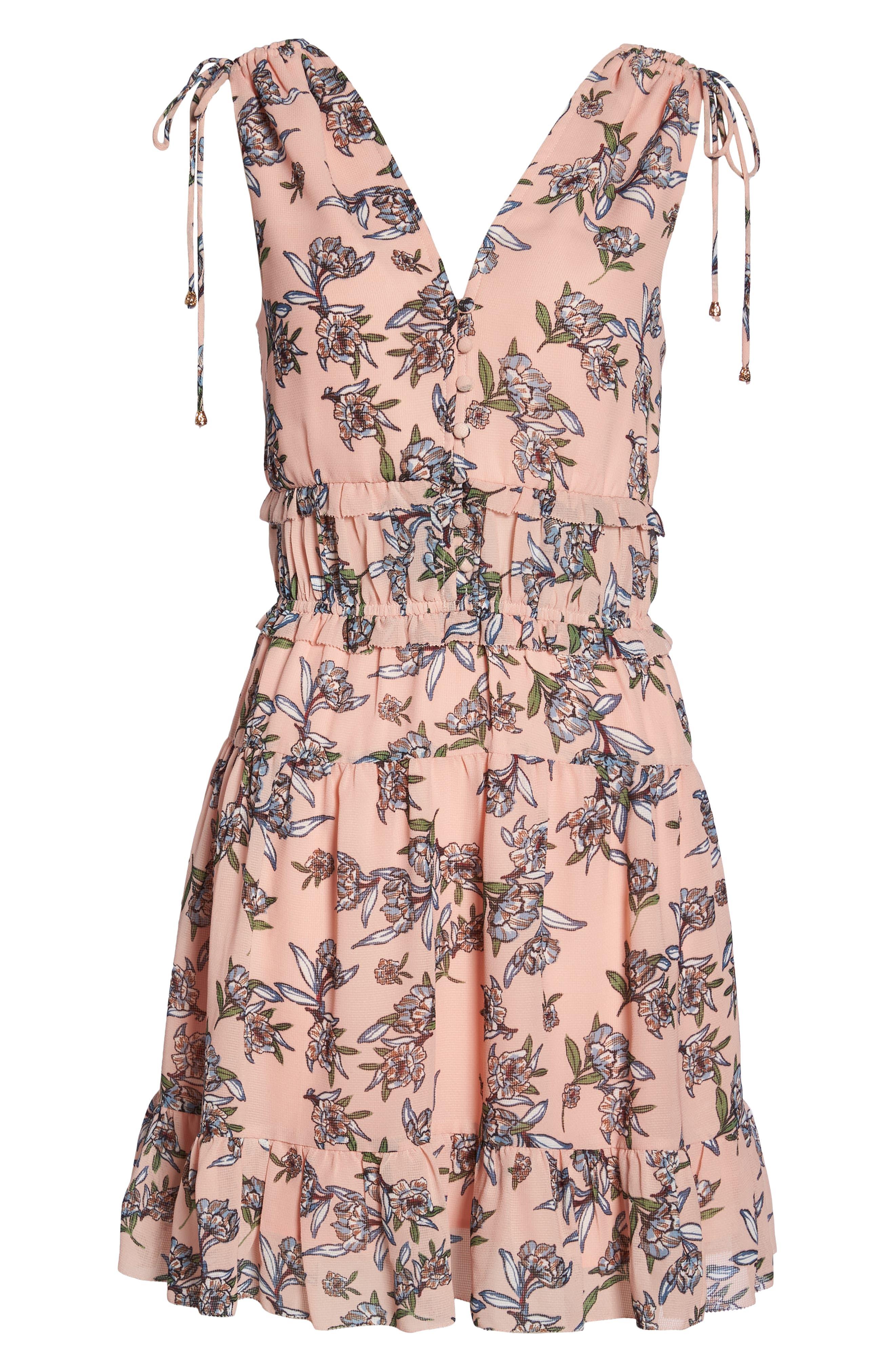 Jax Floral Dress,                             Alternate thumbnail 7, color,                             Blush