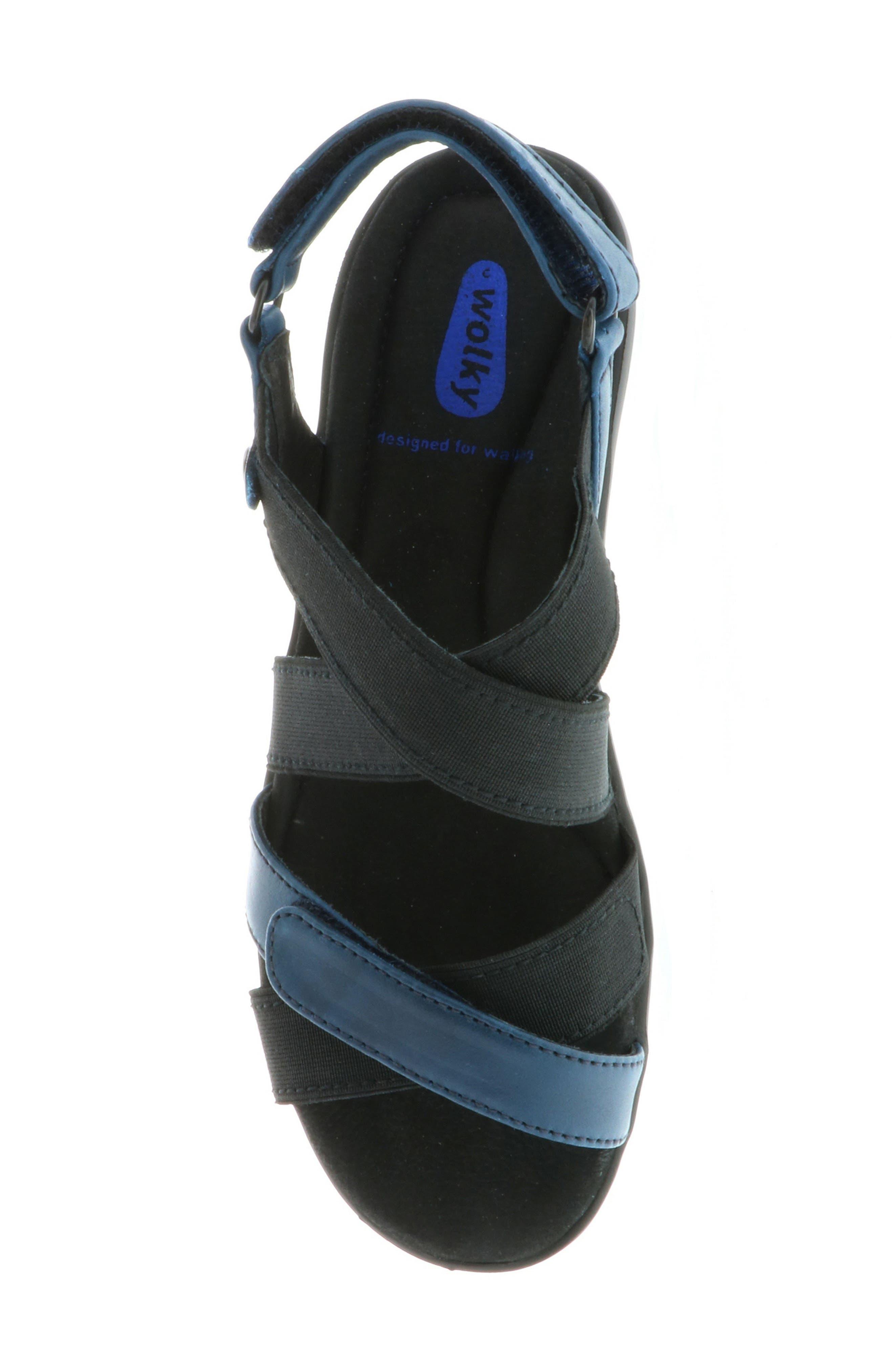 Electra Sandal,                             Alternate thumbnail 4, color,                             Blue Faux Leather