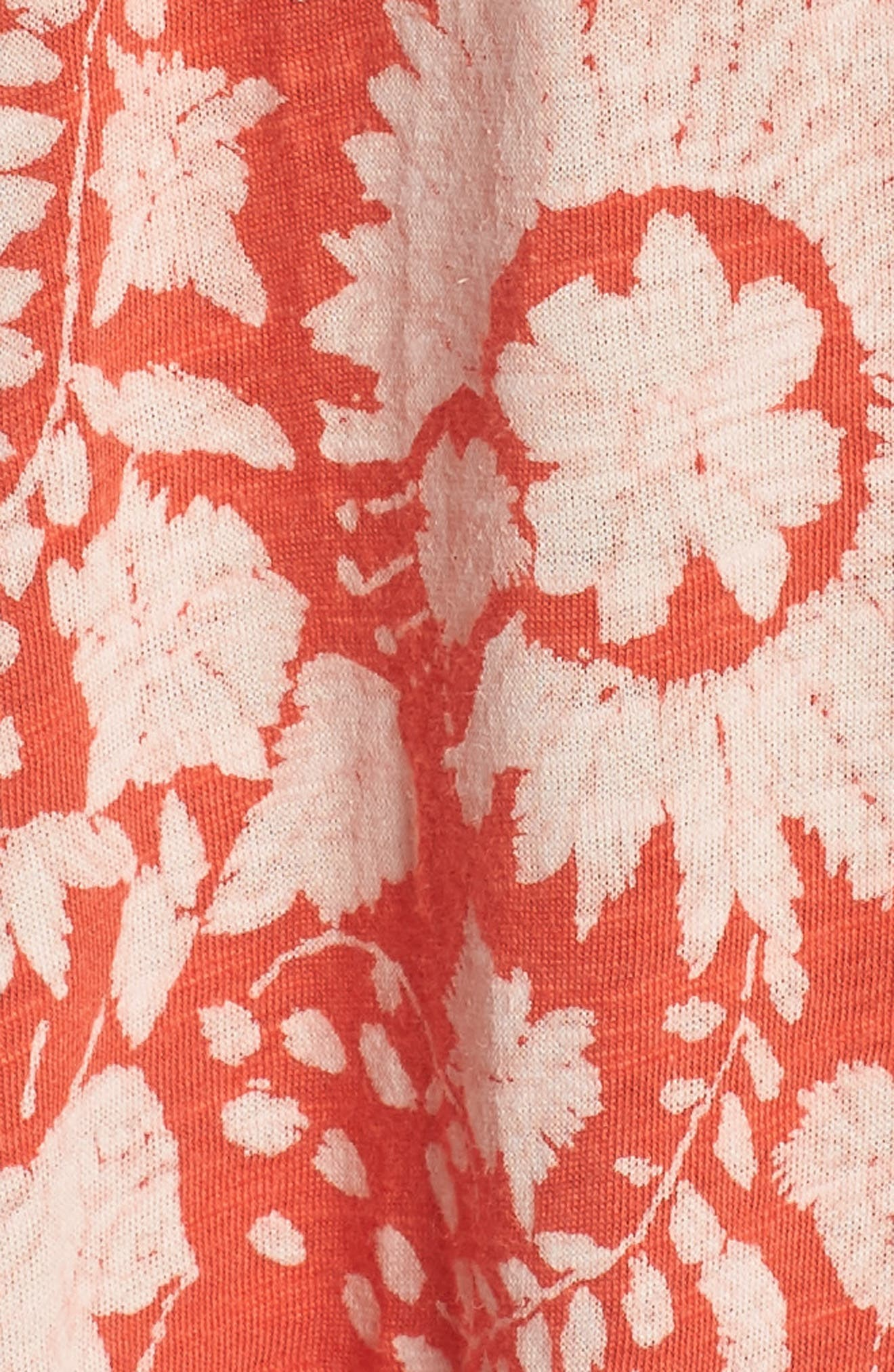 Cold Shoulder Print Belted Dress,                             Alternate thumbnail 6, color,                             Rust Multi