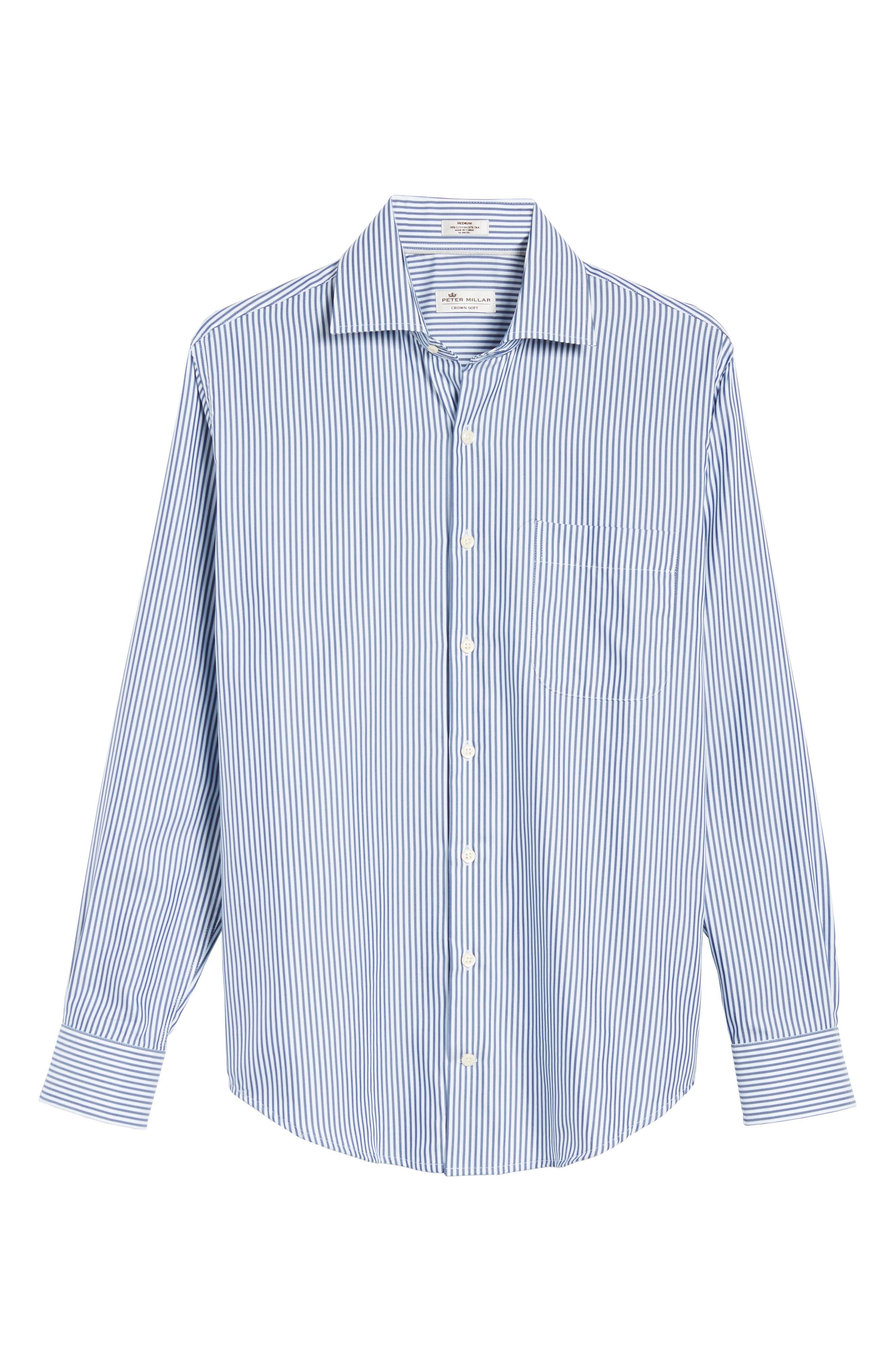 Crown Soft Avery Regular Fit Stripe Sport Shirt,                             Alternate thumbnail 5, color,                             Yankee Blue