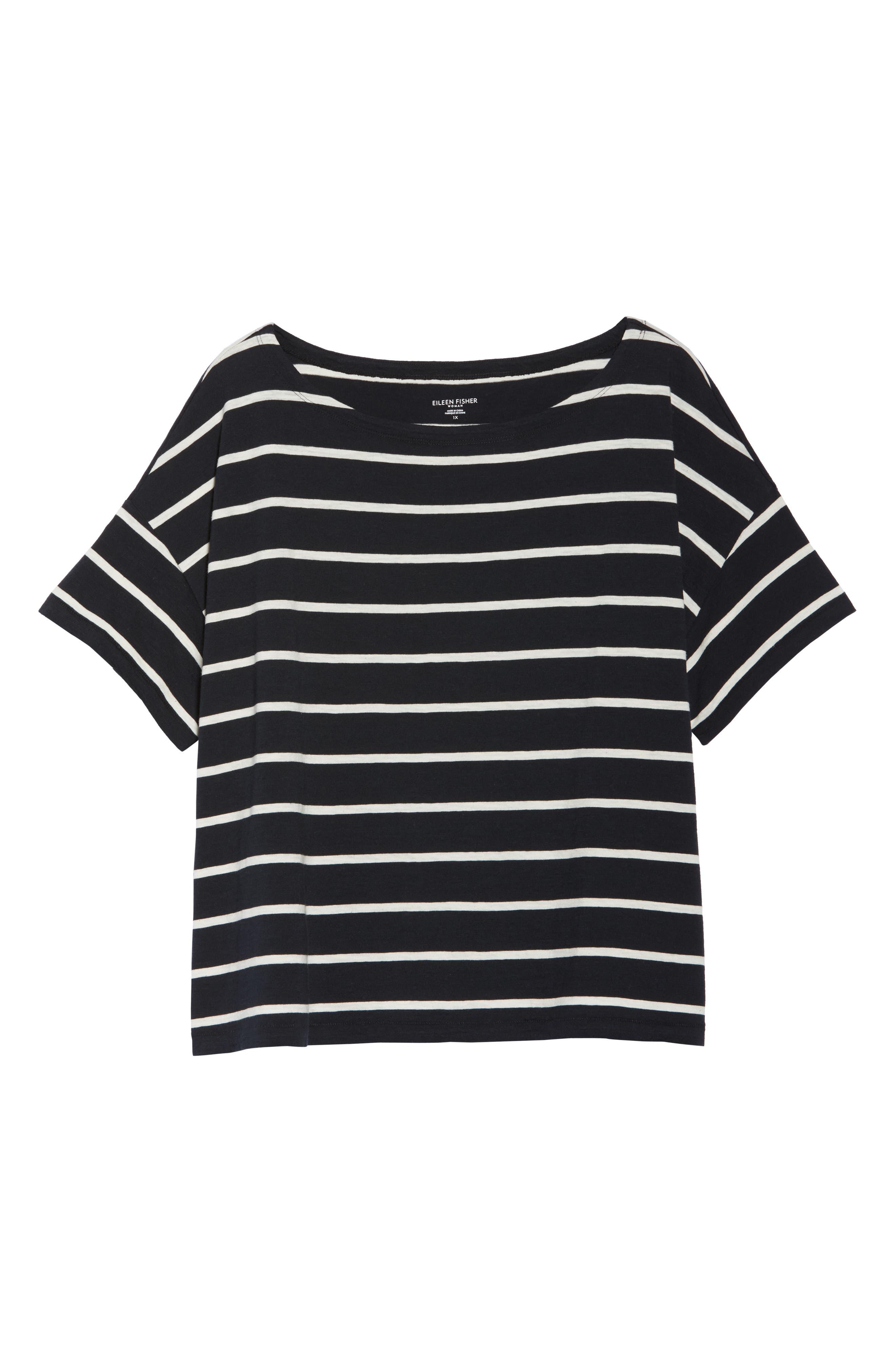 Stripe Organic Cotton Top,                             Alternate thumbnail 7, color,                             Black/ White