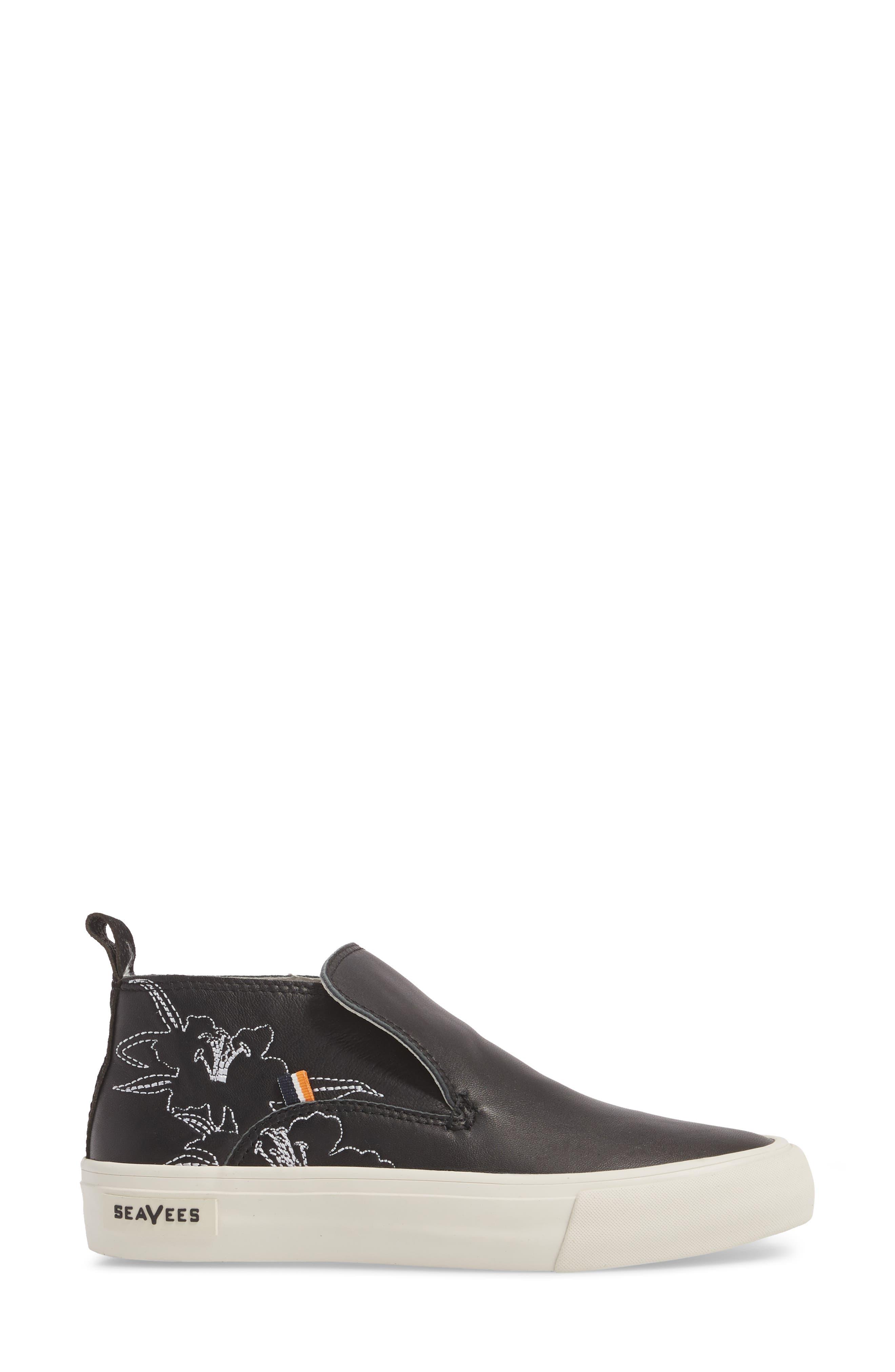 x Derek Lam 10 Crosby Huntington Middie Sneaker,                             Alternate thumbnail 3, color,                             Black Leather