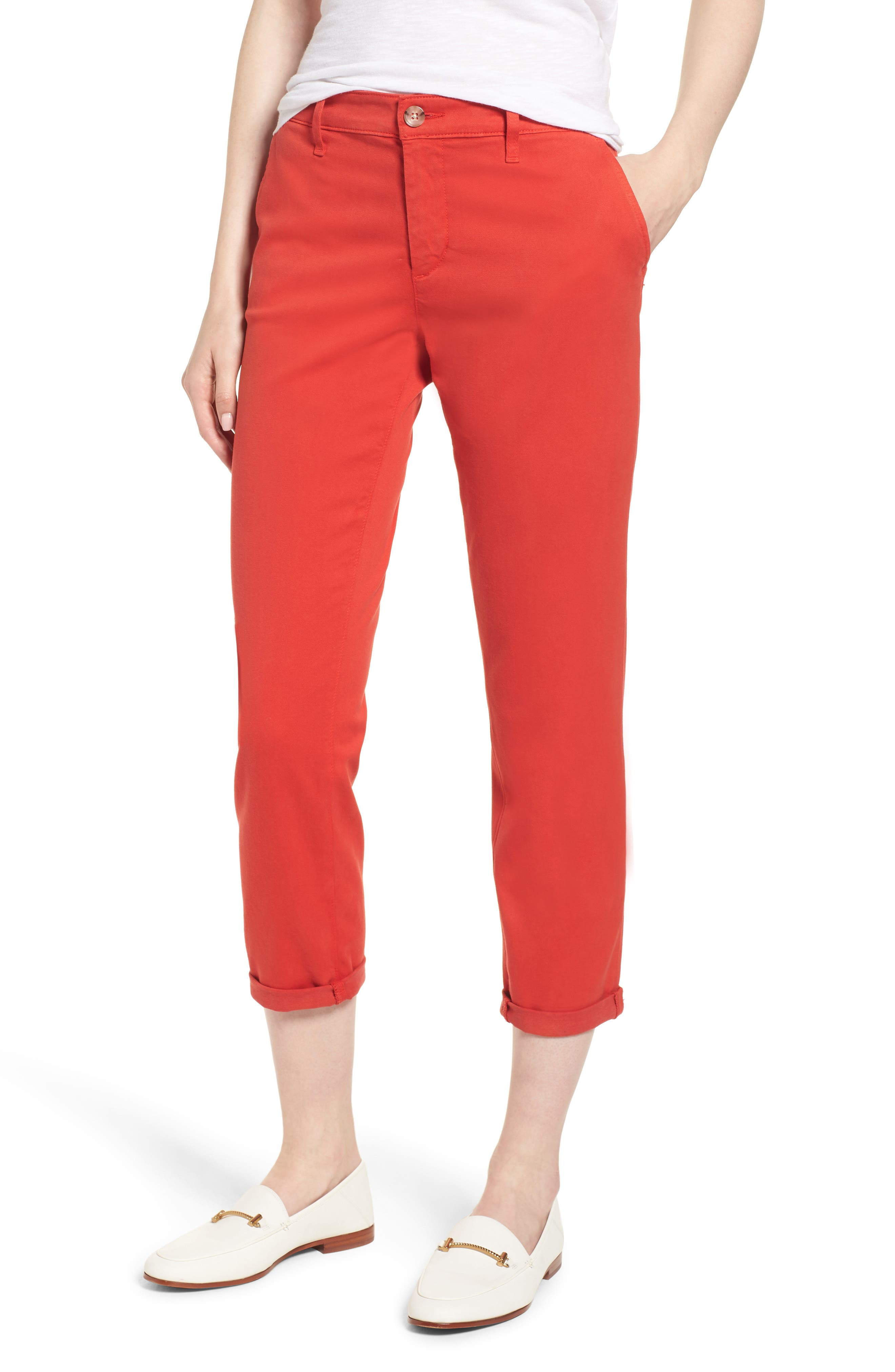 Caden Crop Twill Trousers,                         Main,                         color, Red Poppy