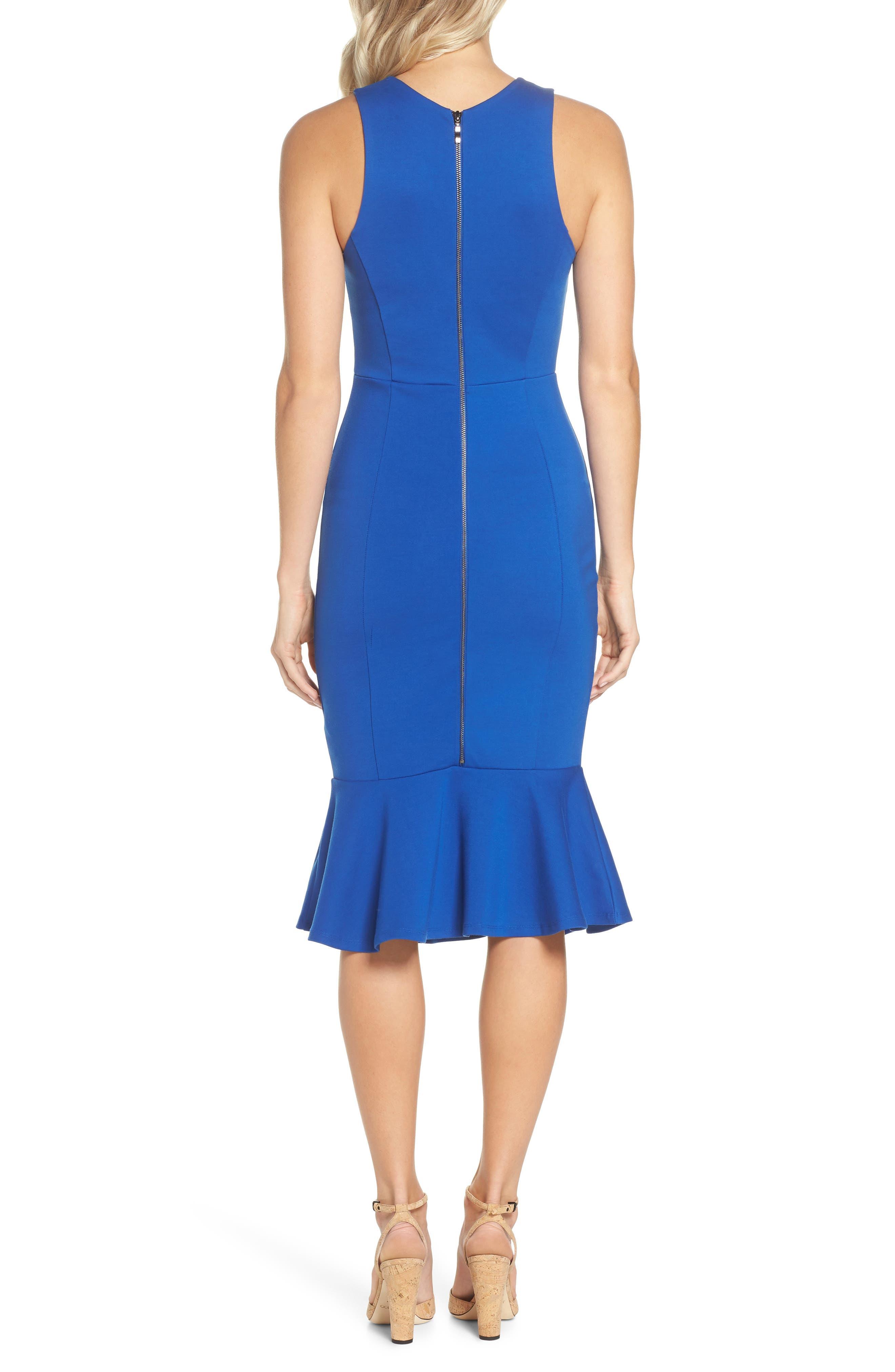 Monrow Flutter Hem Midi Dress,                             Alternate thumbnail 2, color,                             Cobalt