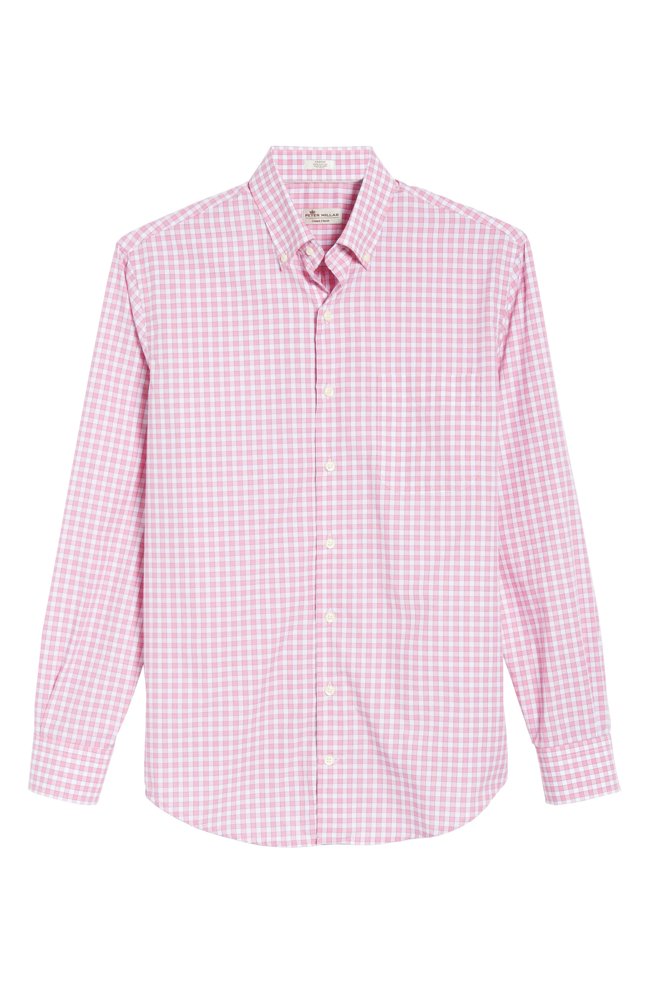 Crown Finish Marsh Regular Fit Check Sport Shirt,                             Alternate thumbnail 6, color,                             Mambo Pink