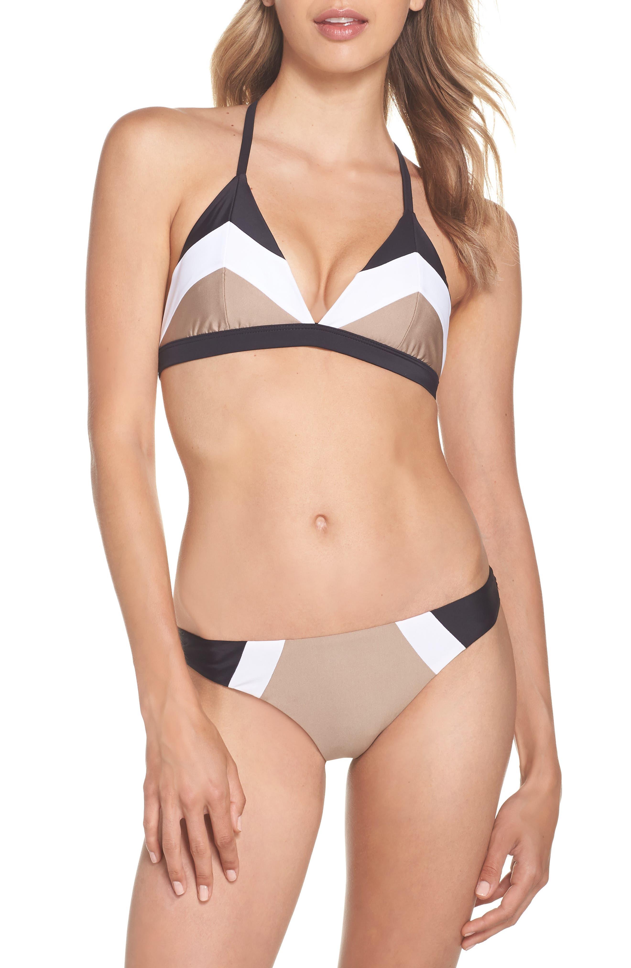Colorblock Triangle Bikini Top,                             Alternate thumbnail 7, color,                             Cadillac