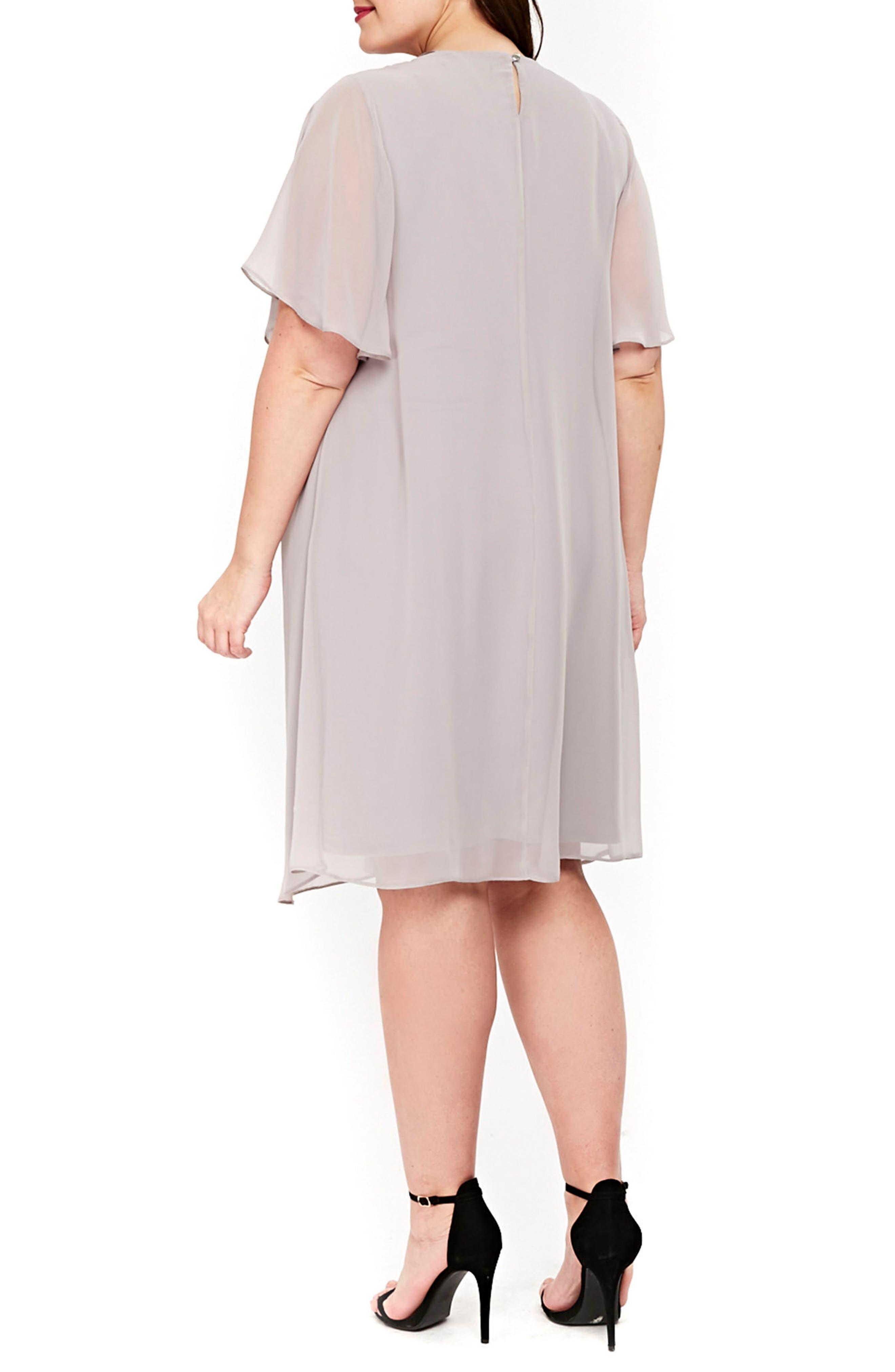 Embellished Neck Split Overlay Shift Dress,                             Alternate thumbnail 2, color,                             Dark Multi