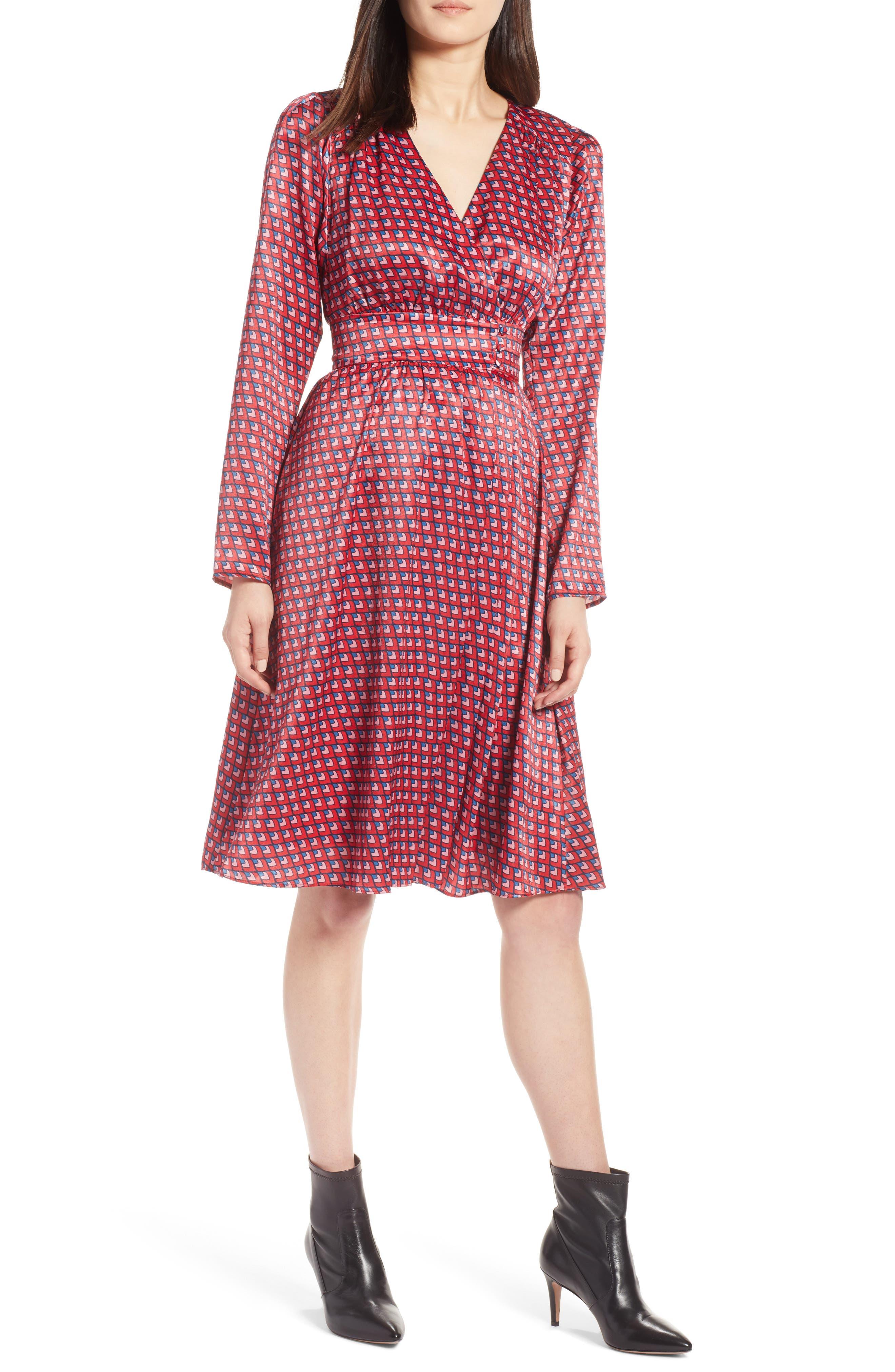 Print Satin Dress,                         Main,                         color, Red Layered Square Print