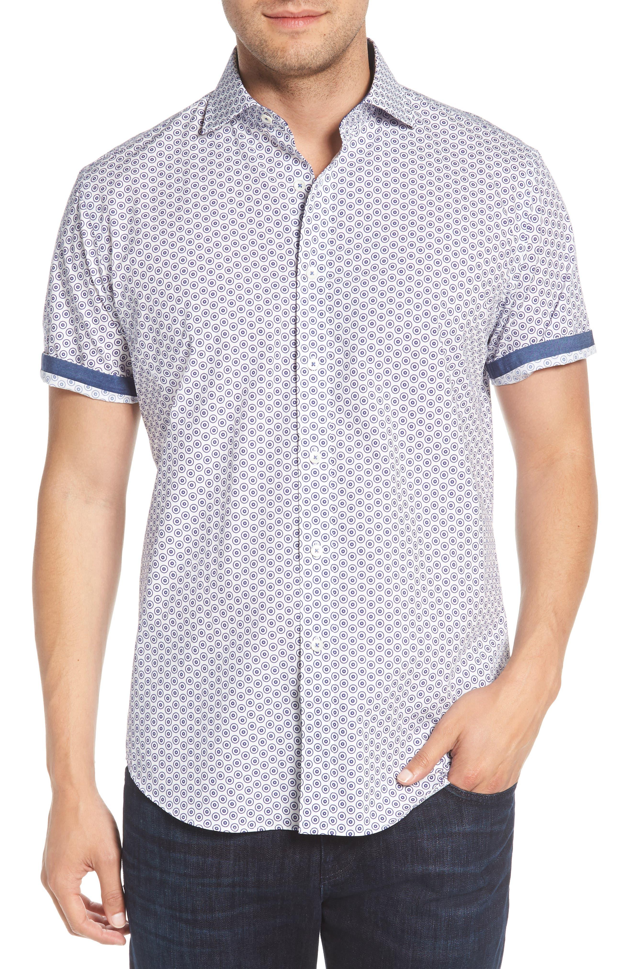 Shaped Fit Dot Circle Print Sport Shirt,                             Alternate thumbnail 4, color,                             White