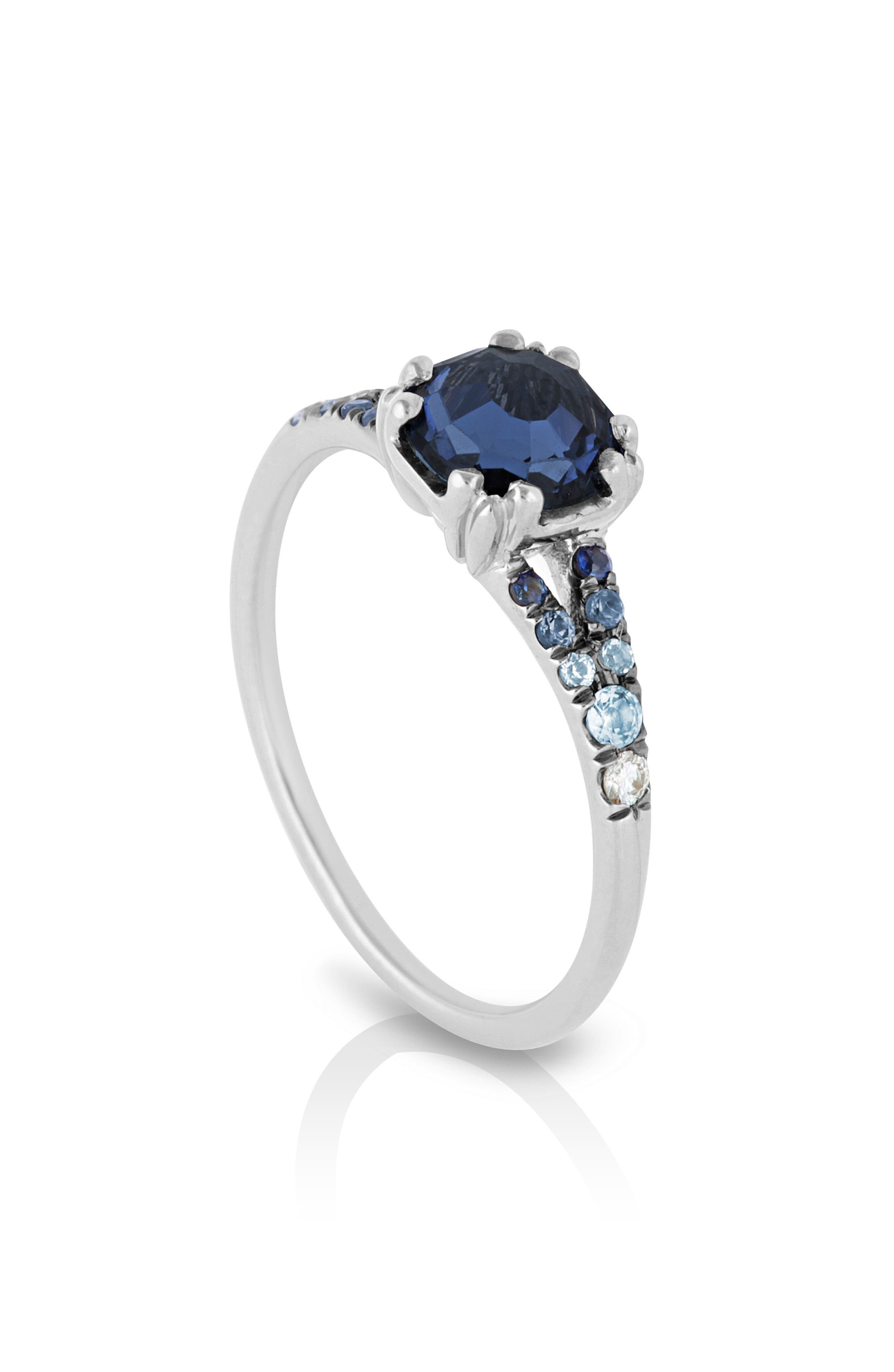Devotion Gradient Sapphire Solitaire Ring,                             Alternate thumbnail 3, color,                             Blue Sapphire