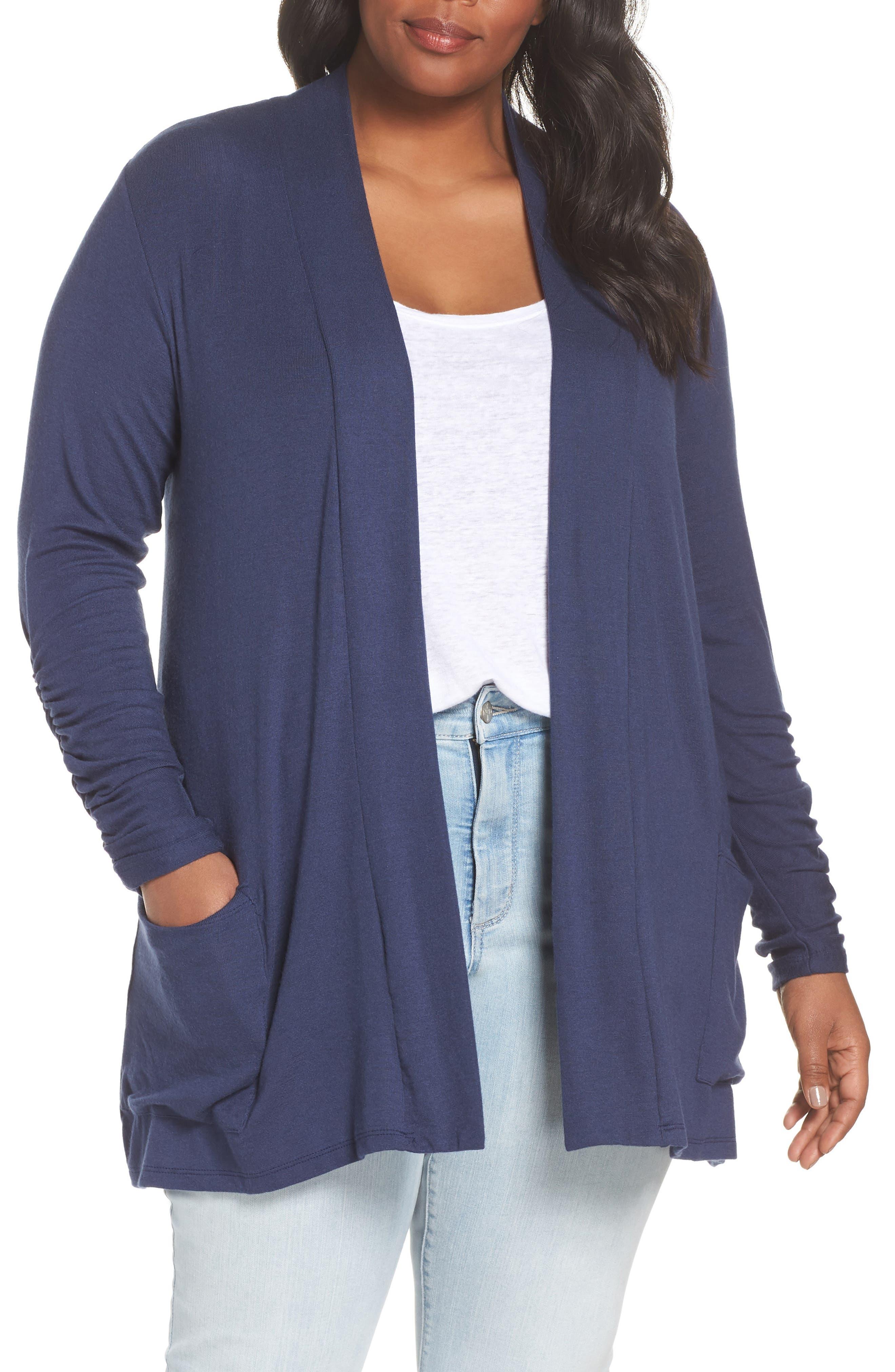 Bobeau Shirred Sleeve Cardigan (Plus Size)