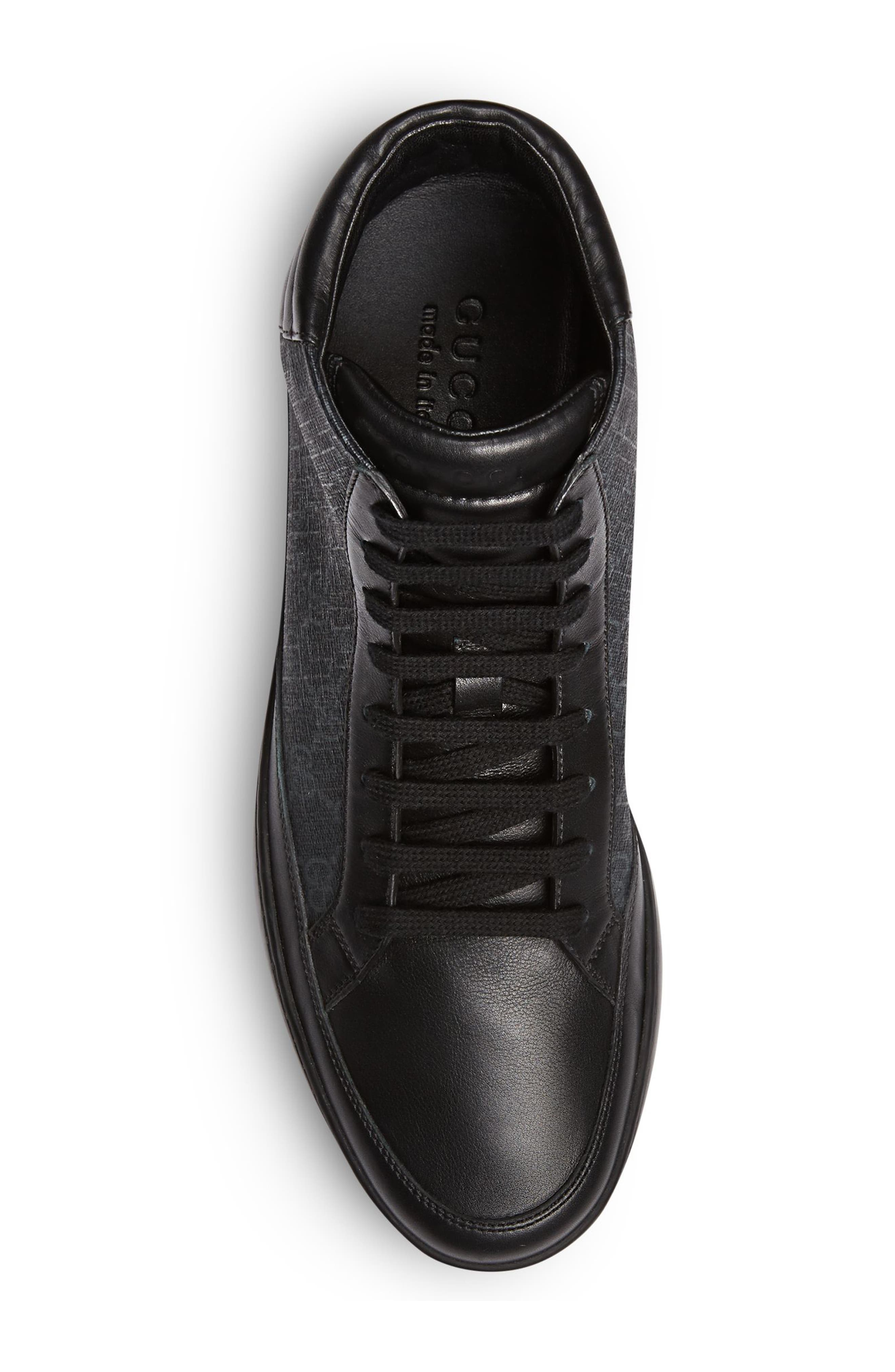 'Common' High Top Sneaker,                             Alternate thumbnail 3, color,                             Nero Leather