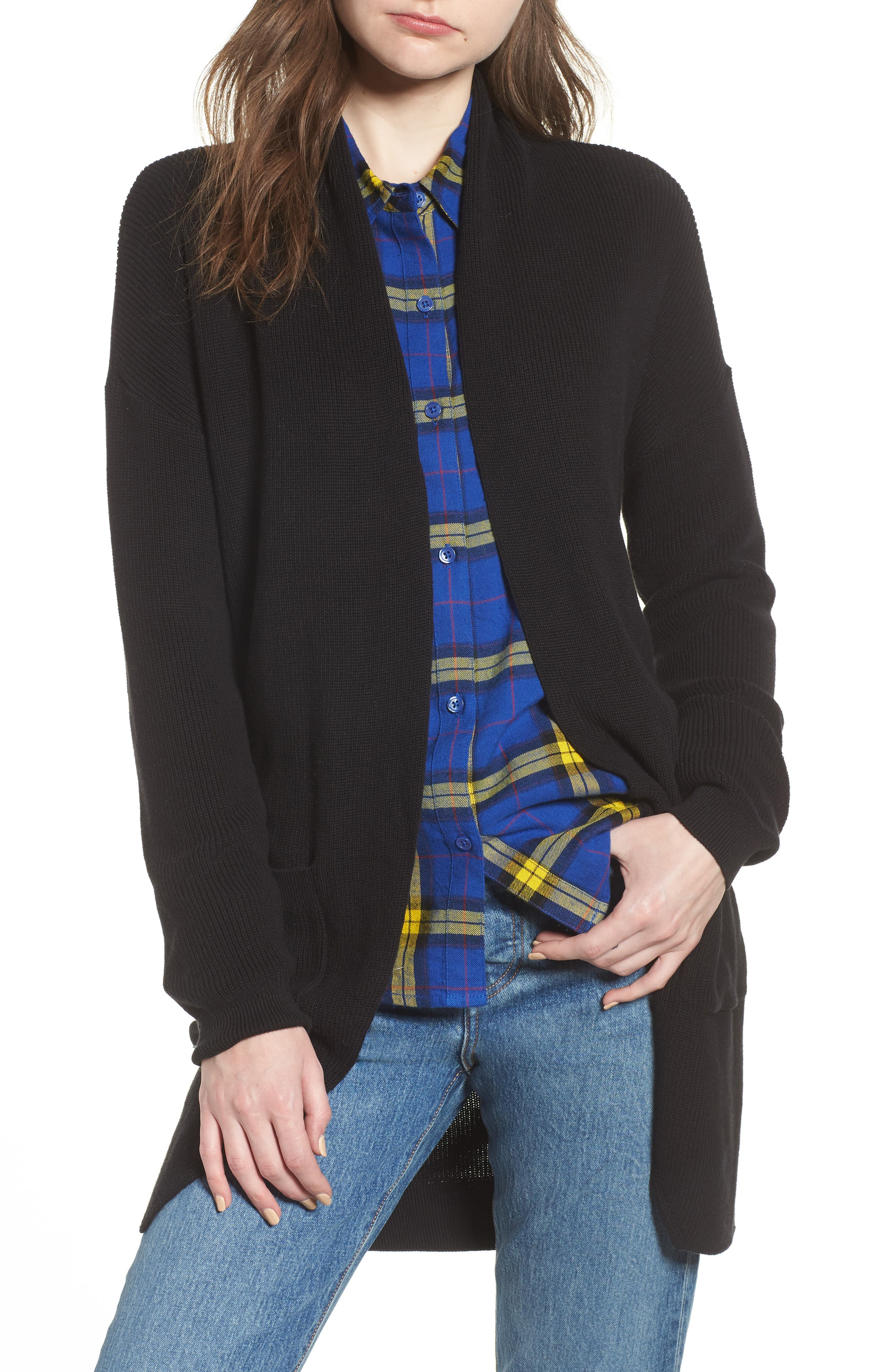 Stitch Curve Hem Cardigan,                         Main,                         color, Black