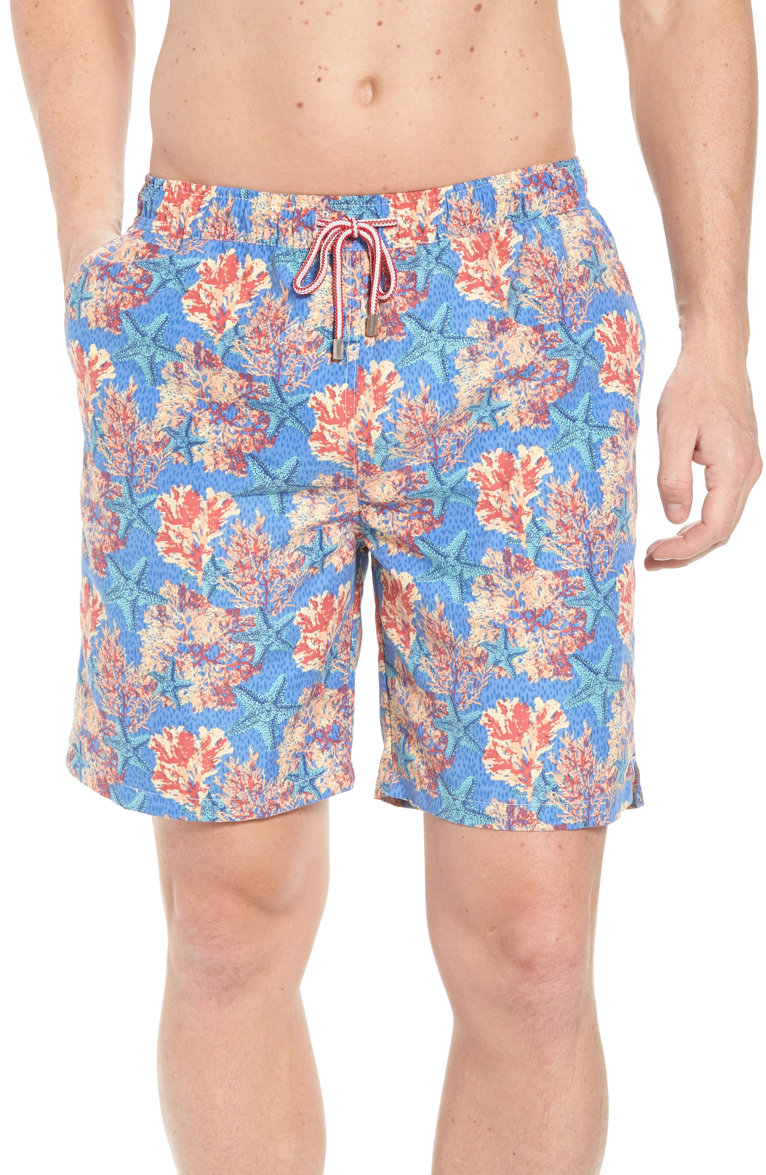 Stars & Coral Swim Trunks,                             Main thumbnail 1, color,                             Atlantic Blue
