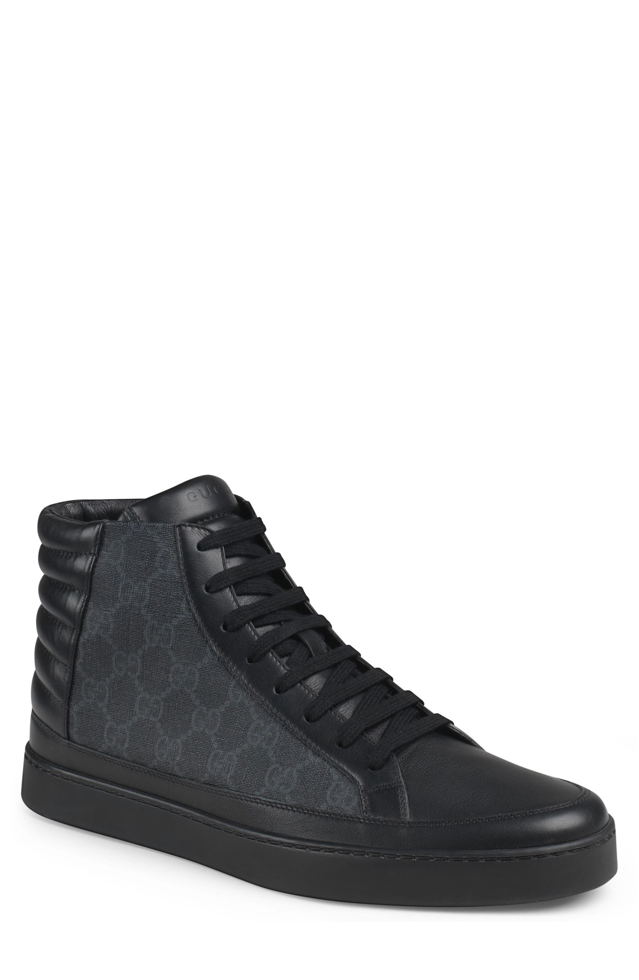 'Common' High Top Sneaker,                             Main thumbnail 1, color,                             Nero Leather