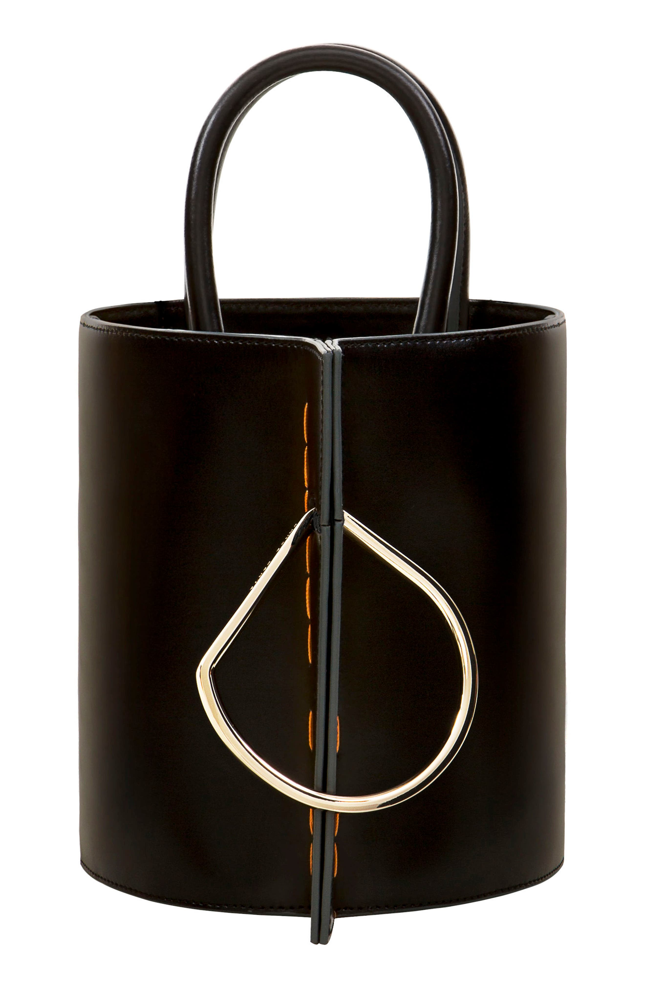 Bobbi Leather Tote,                             Main thumbnail 1, color,                             Black