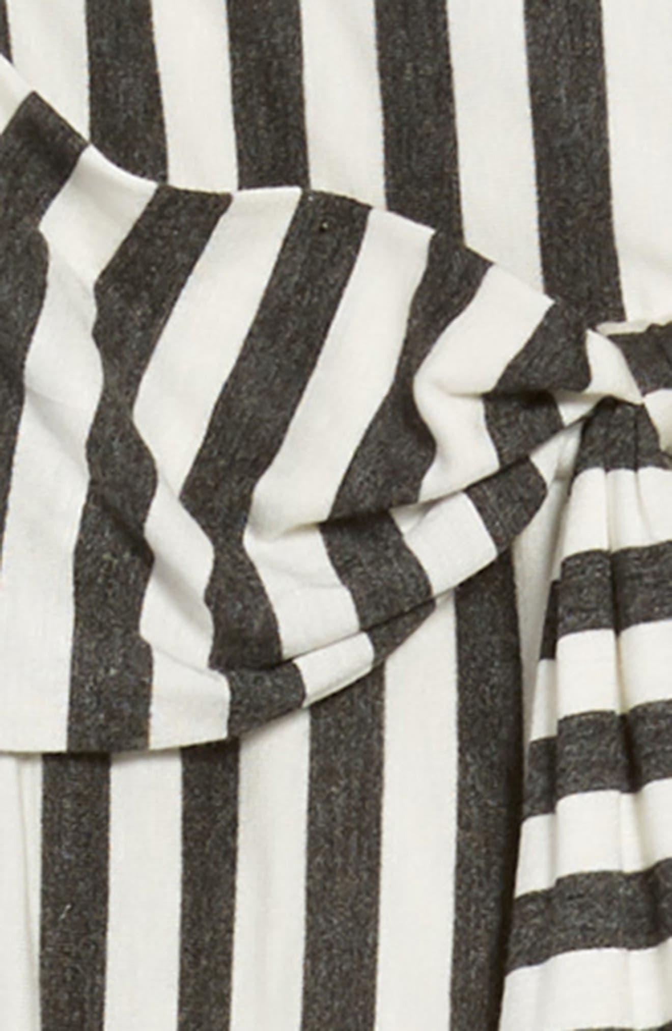 Stripe Tie Front Knit Jumpsuit,                             Alternate thumbnail 2, color,                             Grey/ Ivory