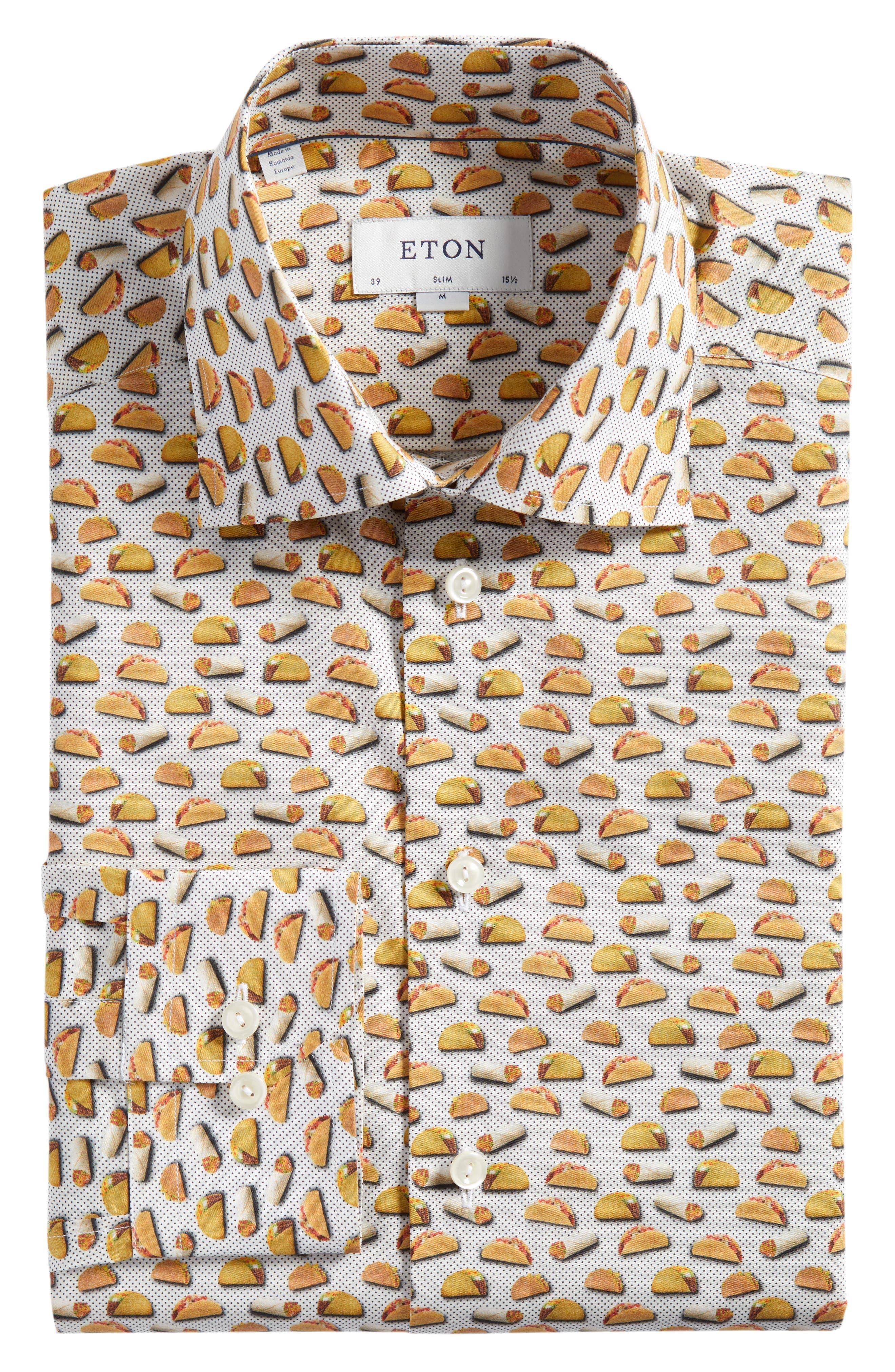 Slim Fit Taco Print Dress Shirt,                             Alternate thumbnail 6, color,                             White