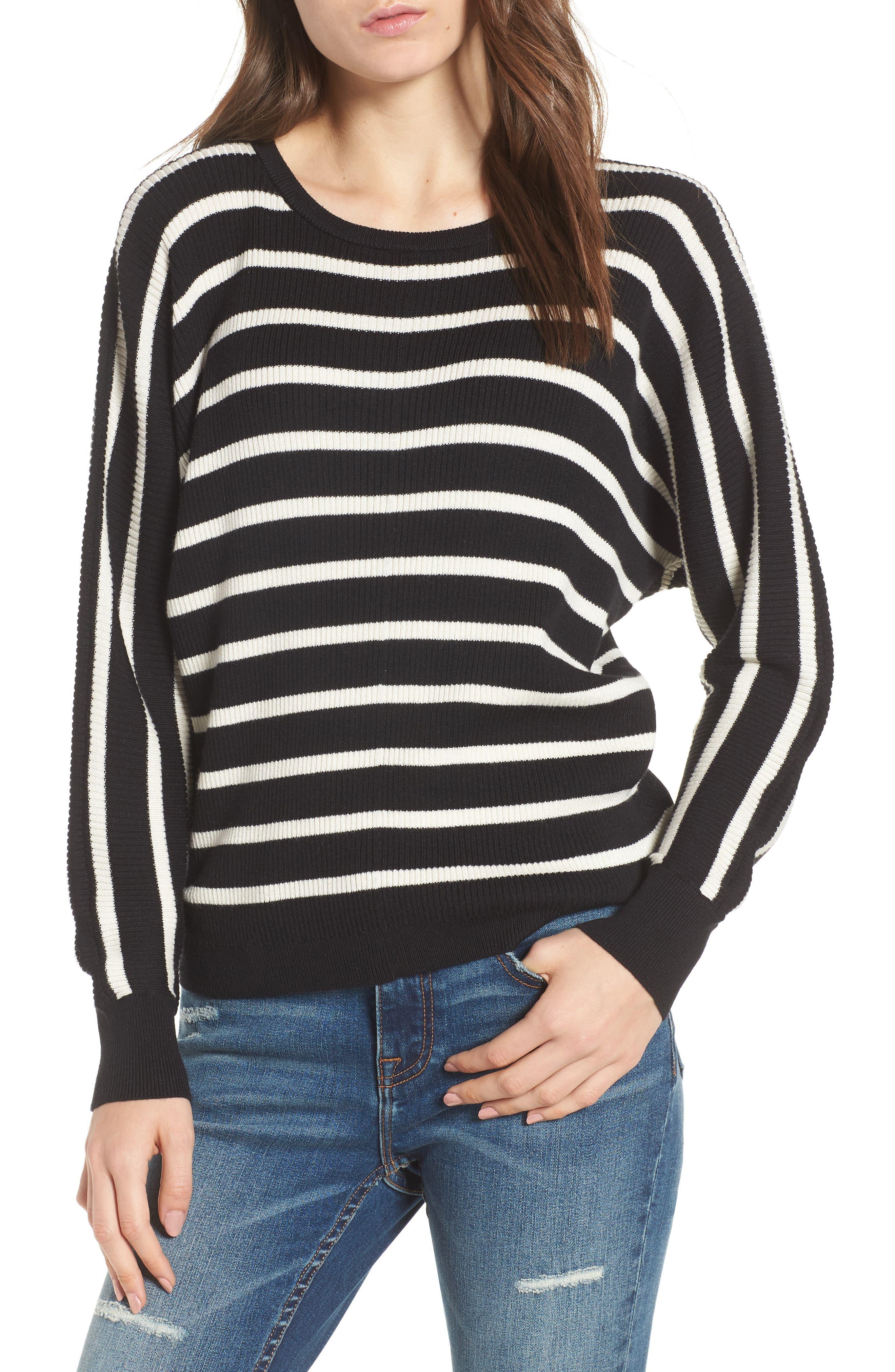 Dolman Sweater,                         Main,                         color, Black Carmen Stripe