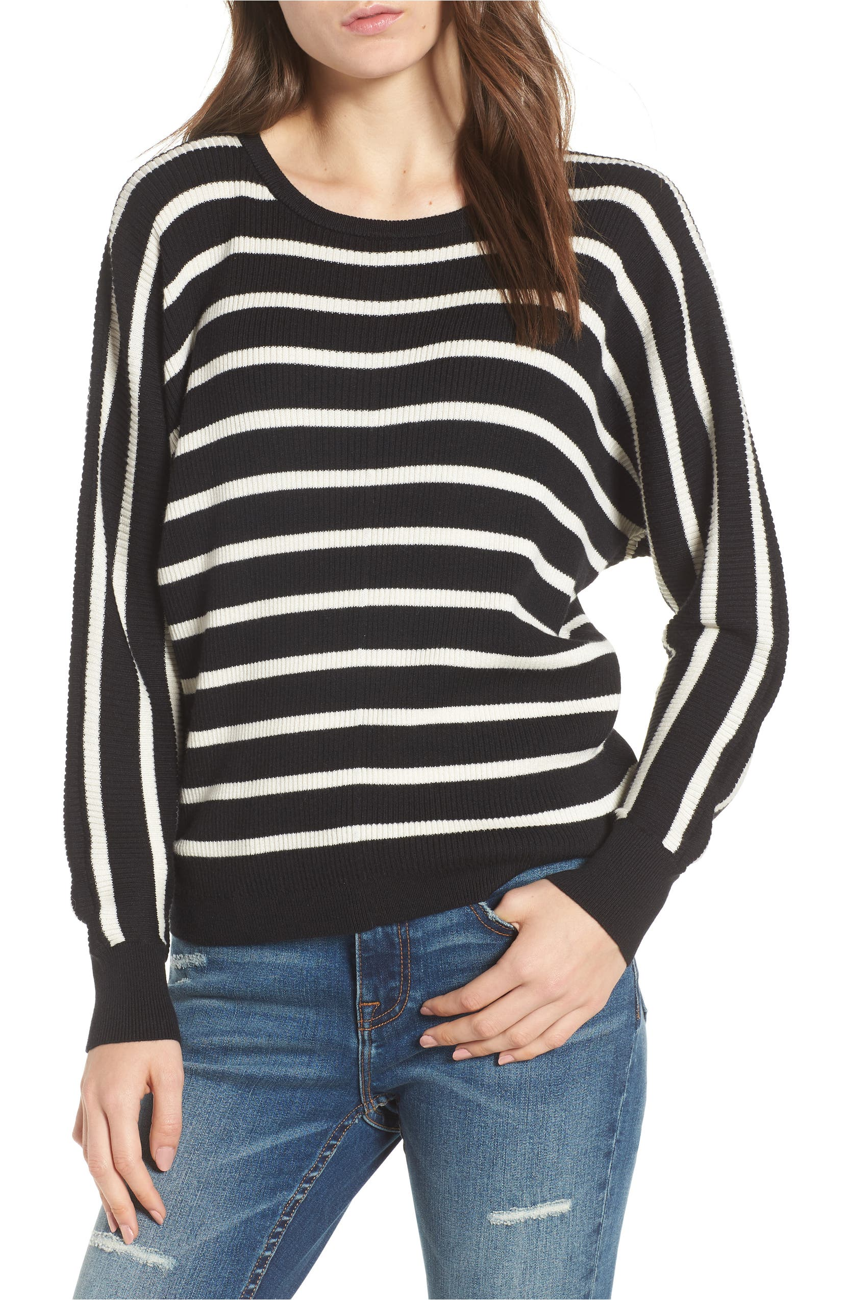 Dolman Sweater,                         Main,                         color, Black Carmen Stripe