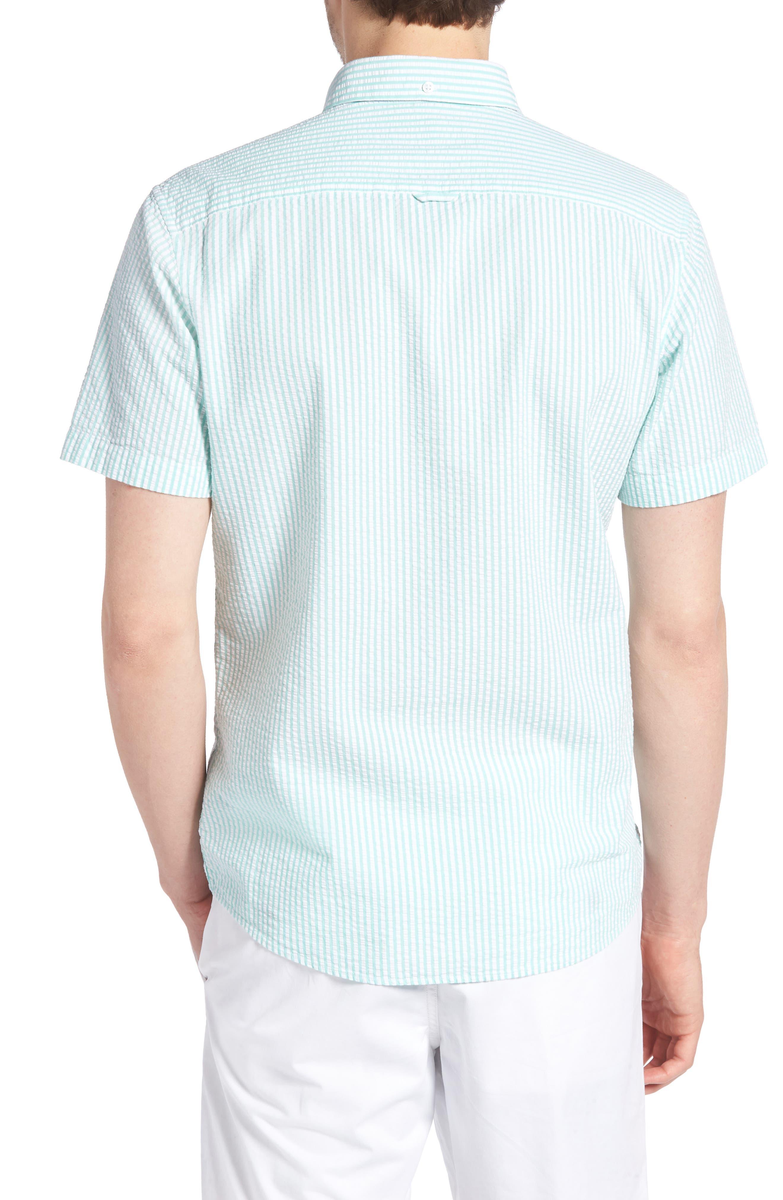 Trim Fit Seersucker Short Sleeve Sport Shirt,                             Alternate thumbnail 3, color,                             White Green Seersucker Stripe