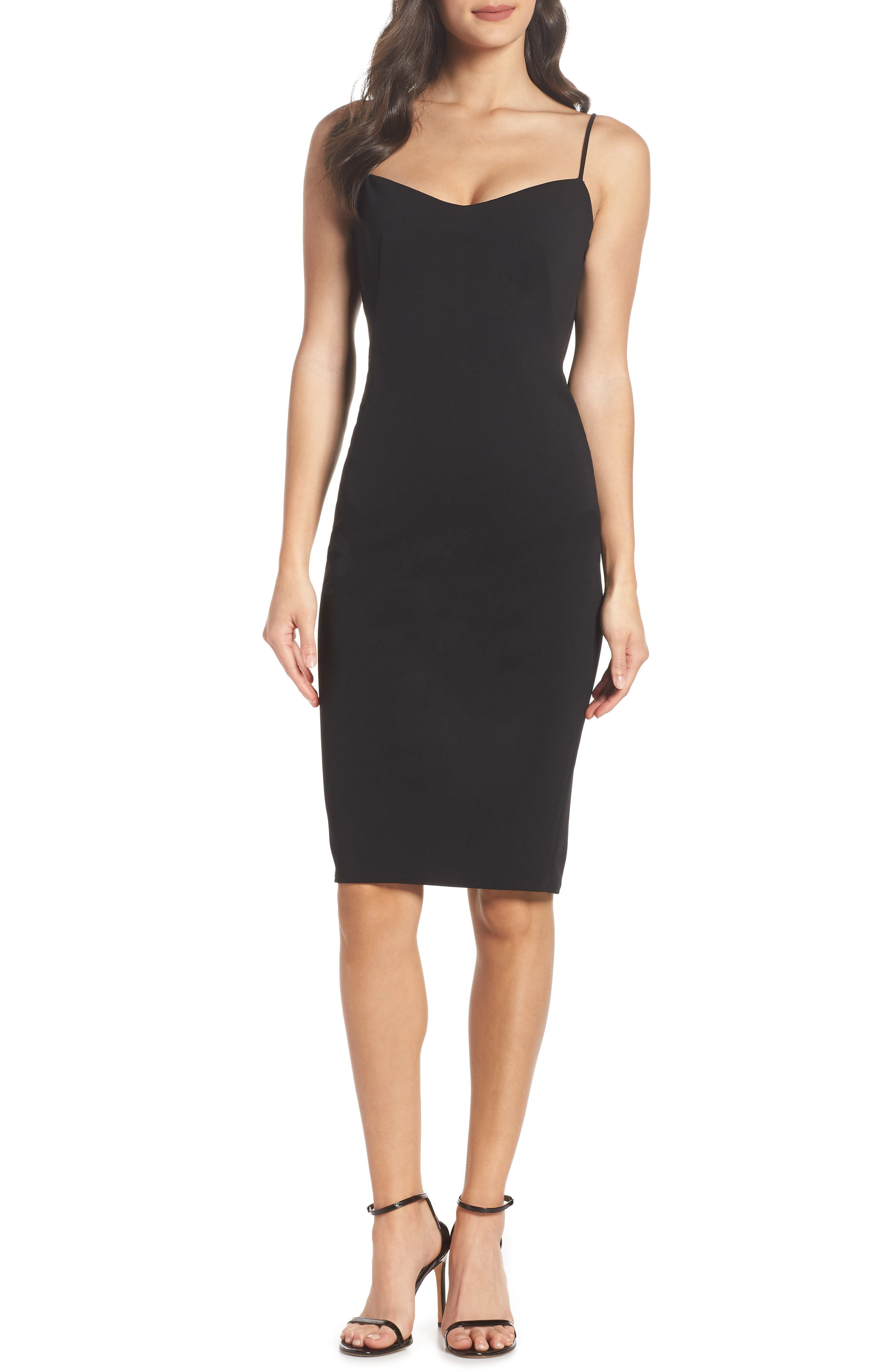 KATIE MAY FITTED DRAPE BACK CREPE DRESS