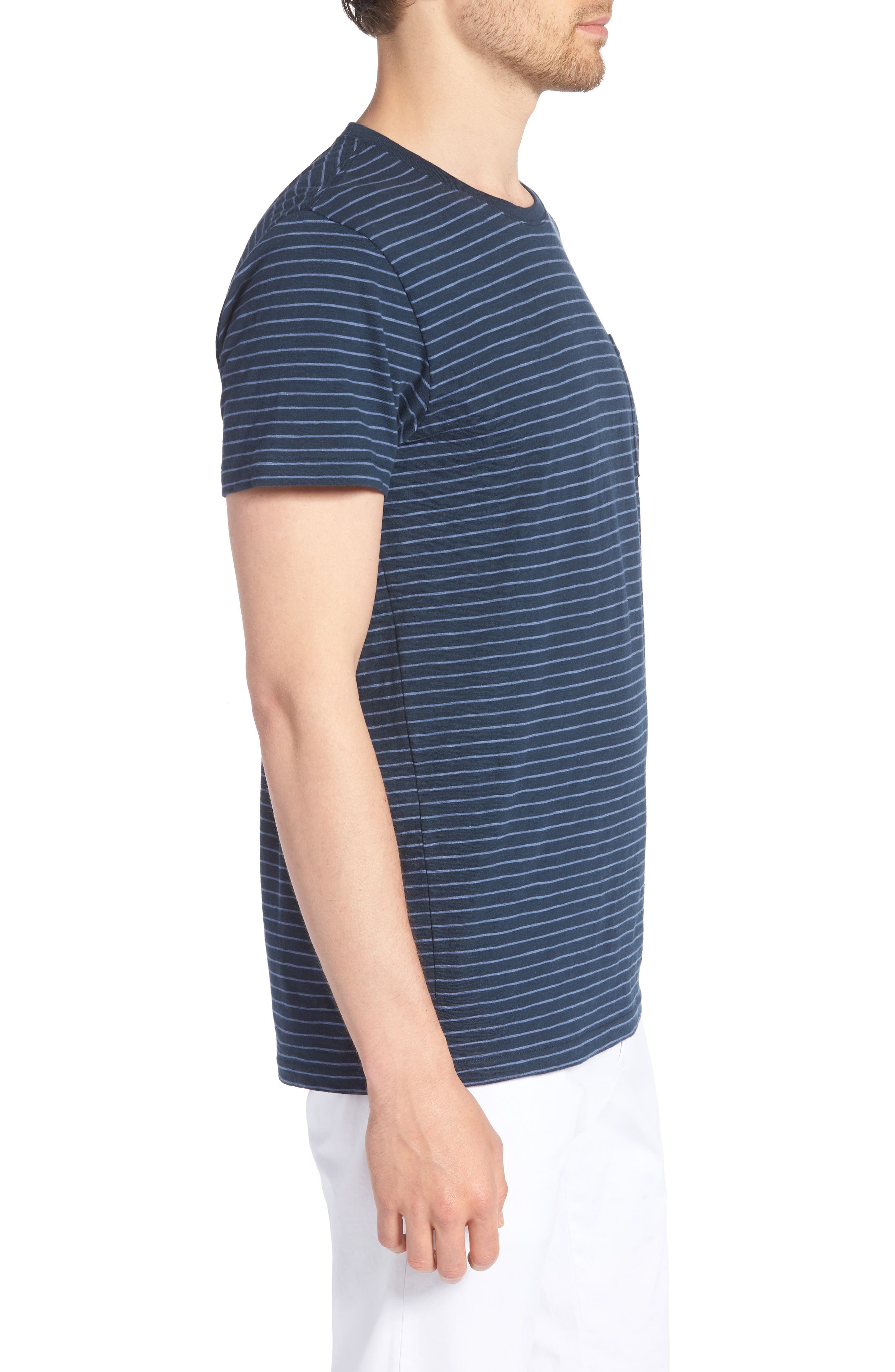 Stripe Slim Fit Pocket T-Shirt,                             Alternate thumbnail 3, color,                             French Navy/ White