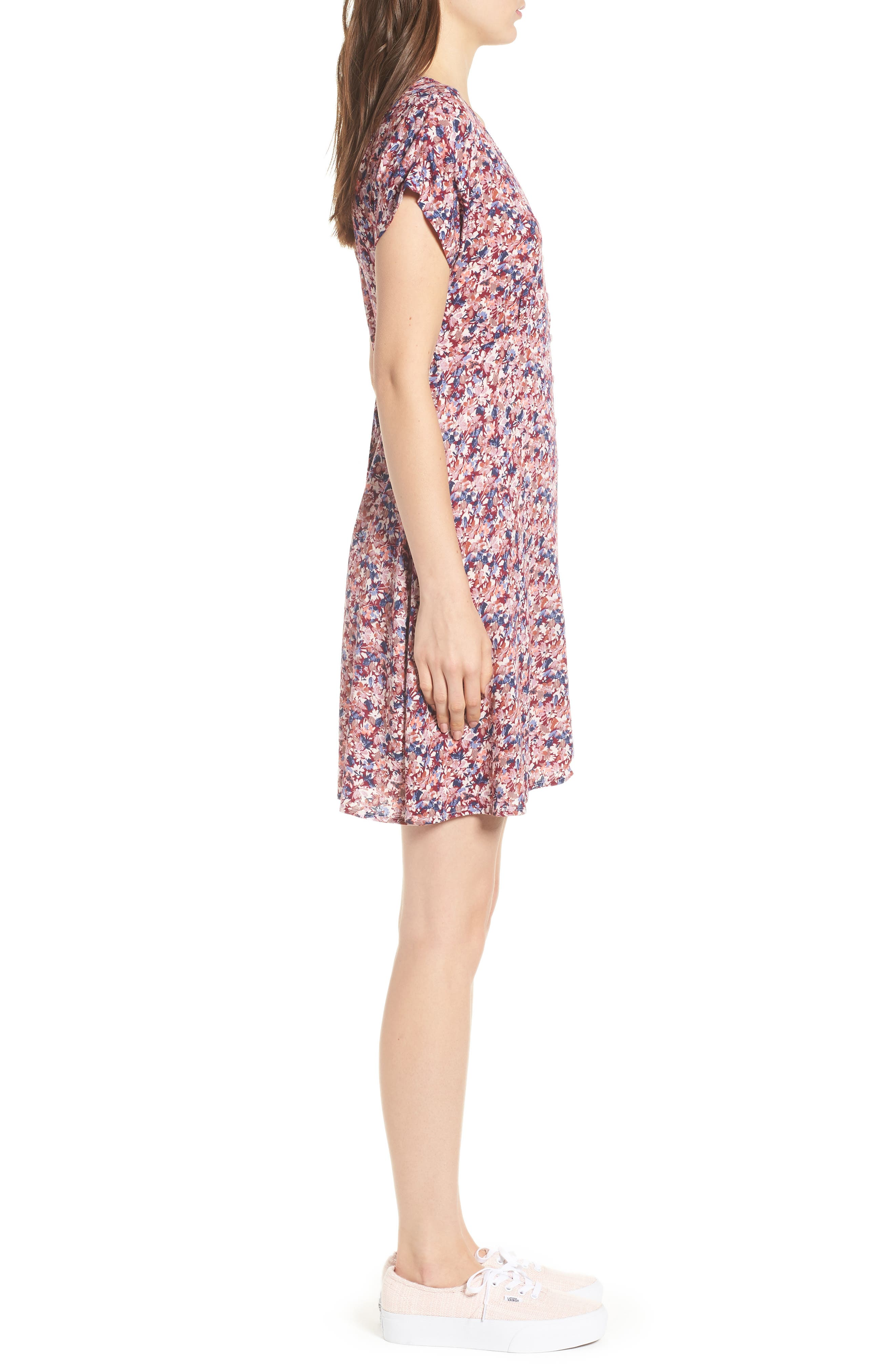 Floral Print Button Front Dress,                             Alternate thumbnail 3, color,                             Pink Floral