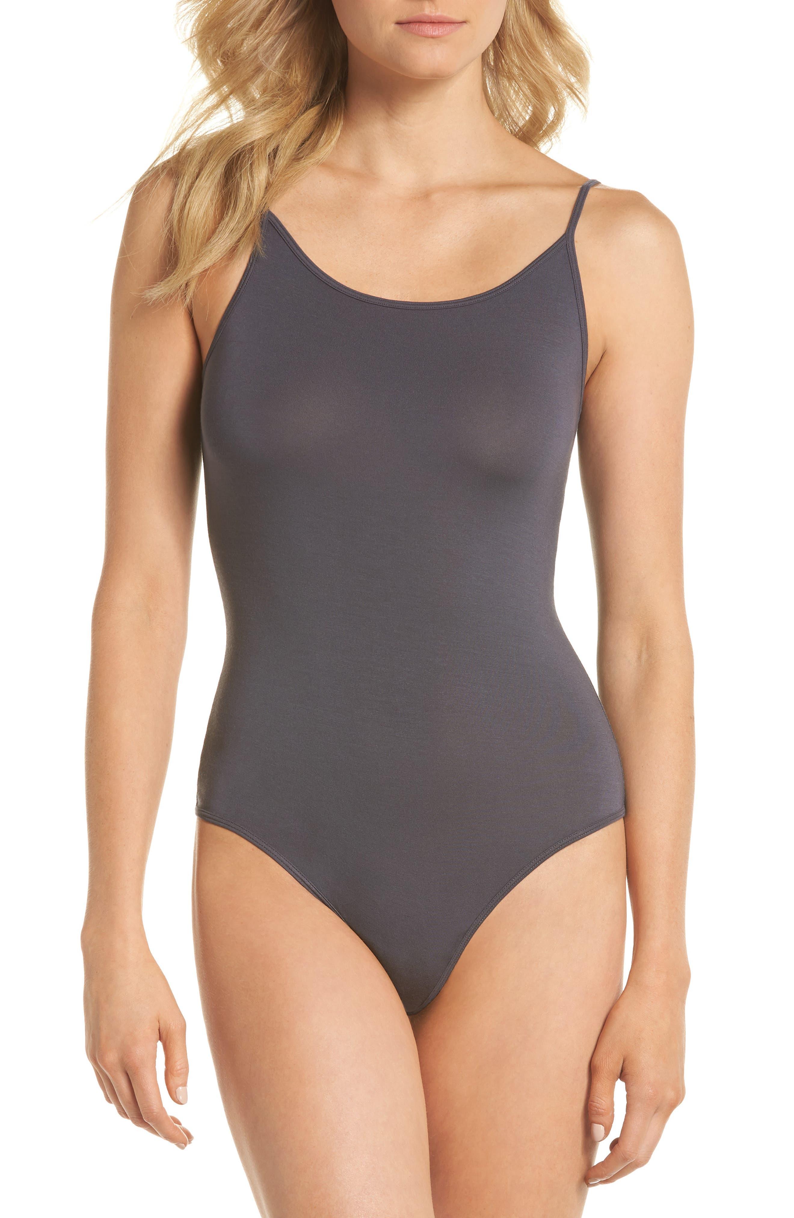 Scoop Back Thong Bodysuit,                         Main,                         color, Gunmetal