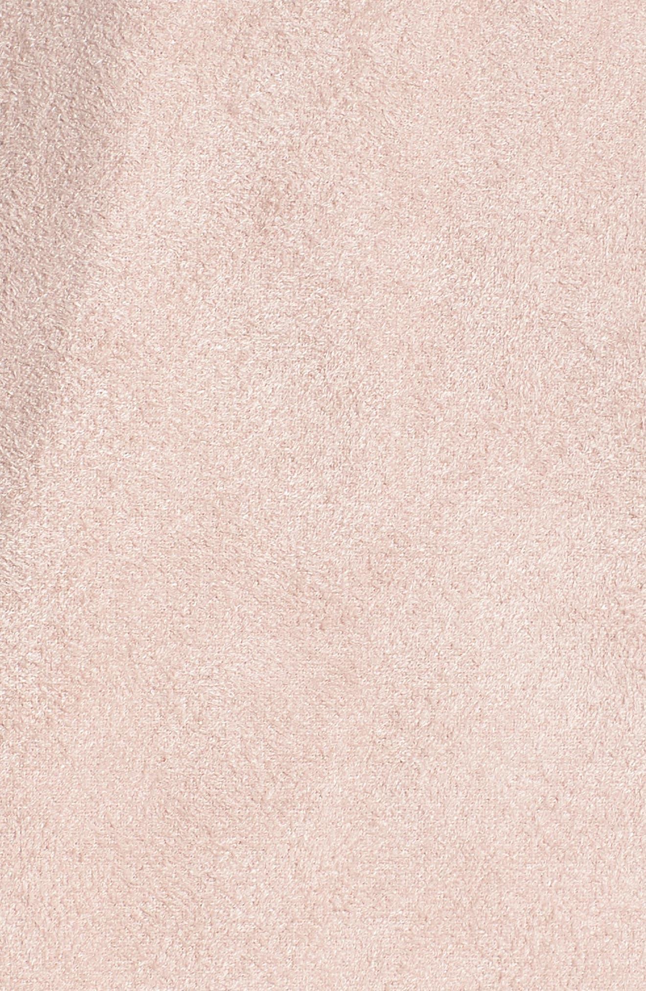 Drape Front Faux Suede Jacket,                             Alternate thumbnail 6, color,                             Pink Adobe