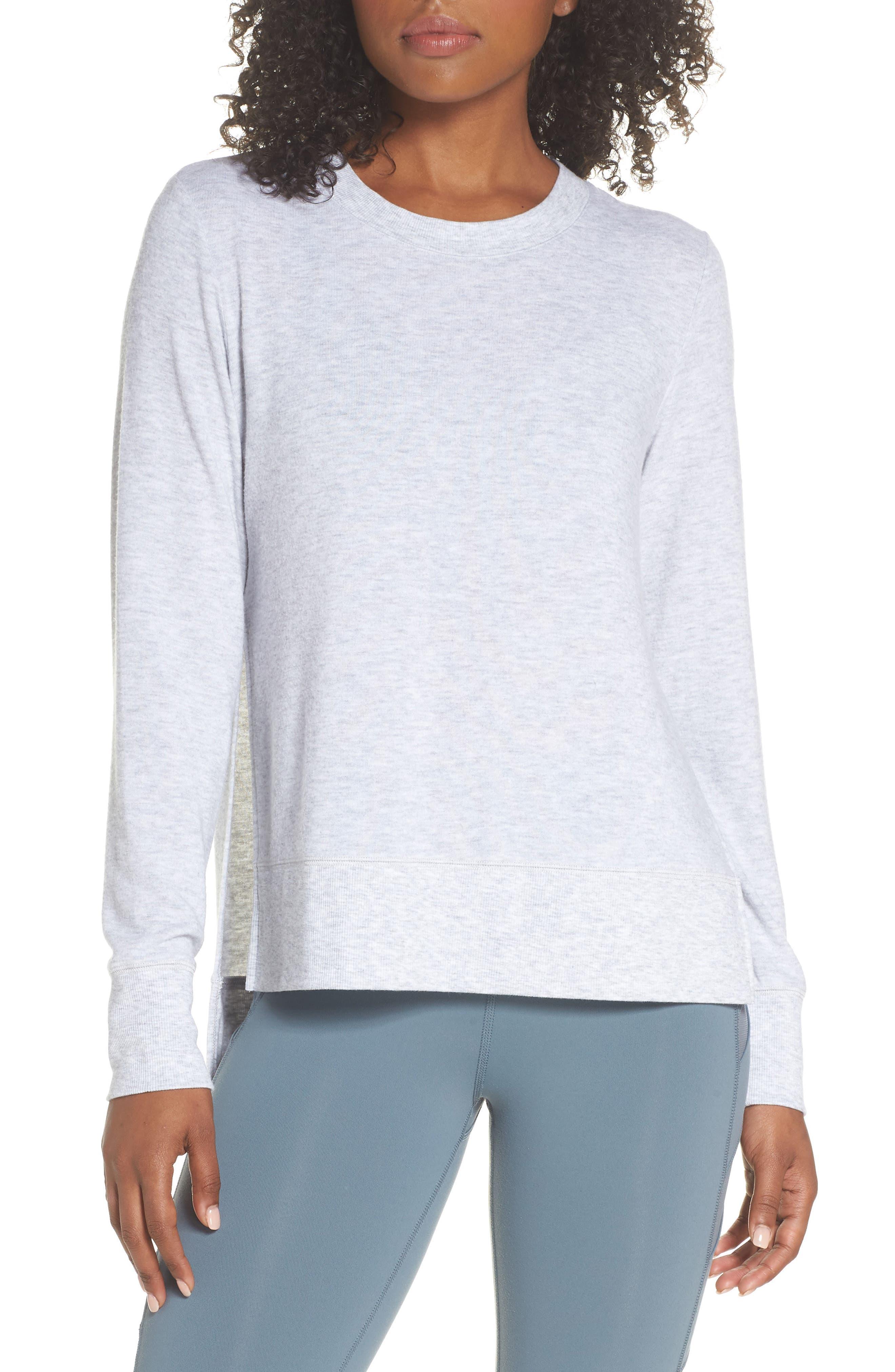 'Glimpse' Long Sleeve Top,                         Main,                         color, Vapor Grey Heather