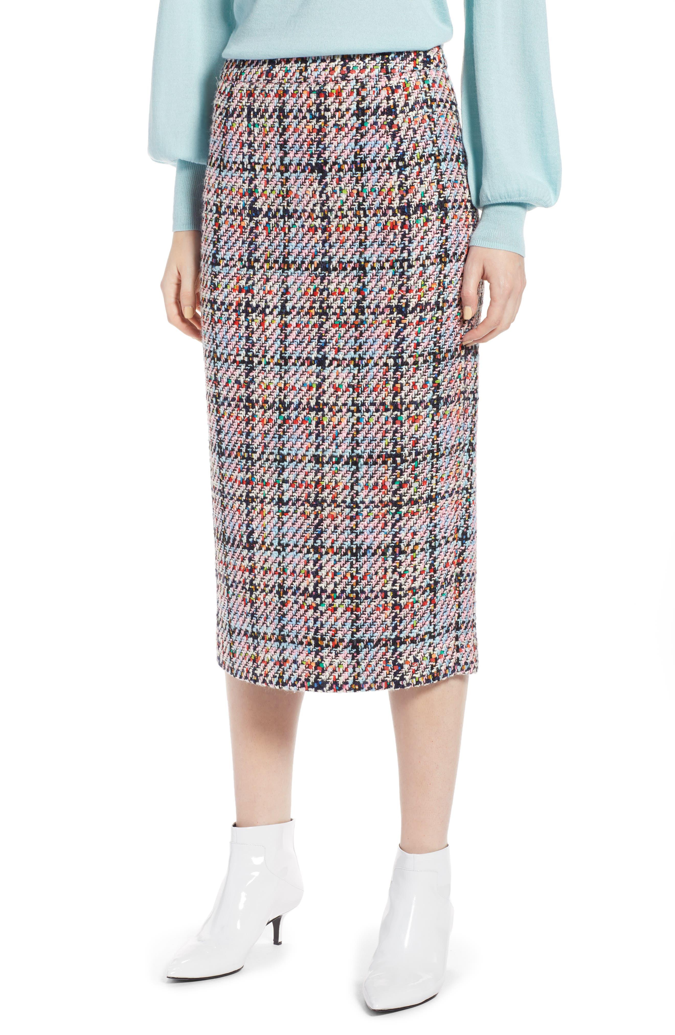 Tweed Midi Skirt,                             Main thumbnail 1, color,                             Pink Multi Tweed