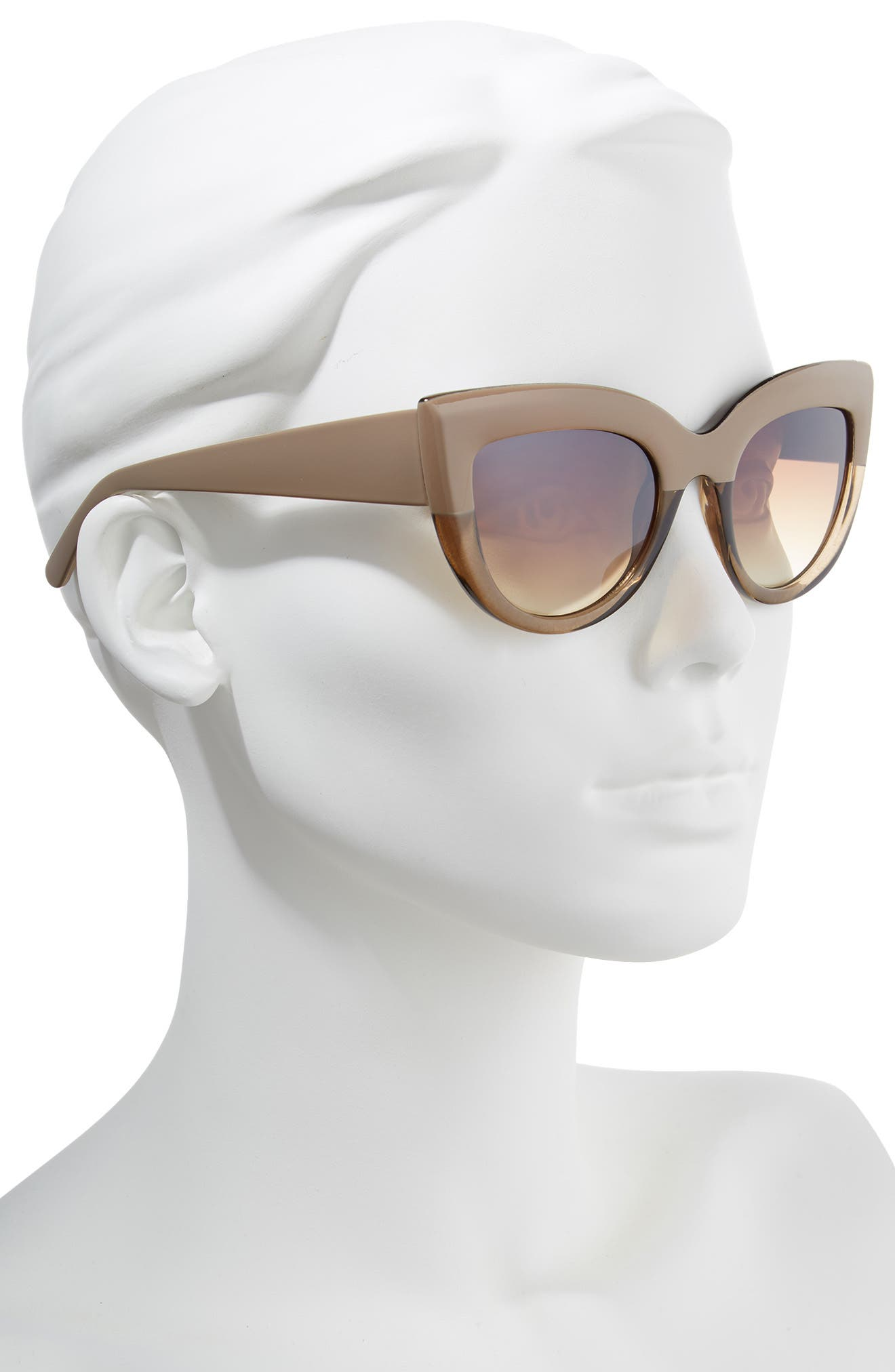 60mm Two-Tone Cat Eye Sunglasses,                             Alternate thumbnail 2, color,                             Taupe/ Brown