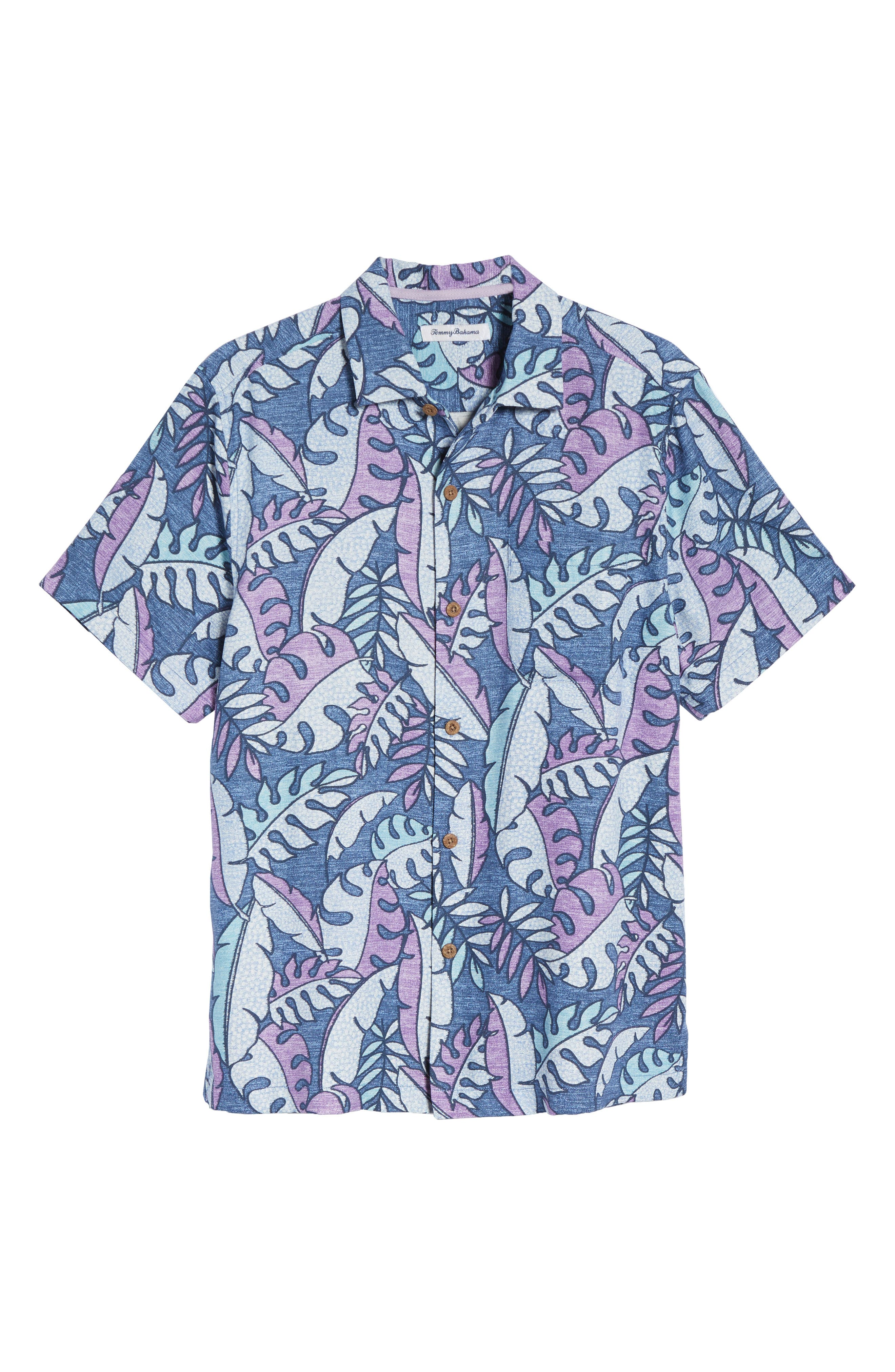 Mateo Fronds Silk Blend Camp Shirt,                             Alternate thumbnail 6, color,                             Ocean Deep