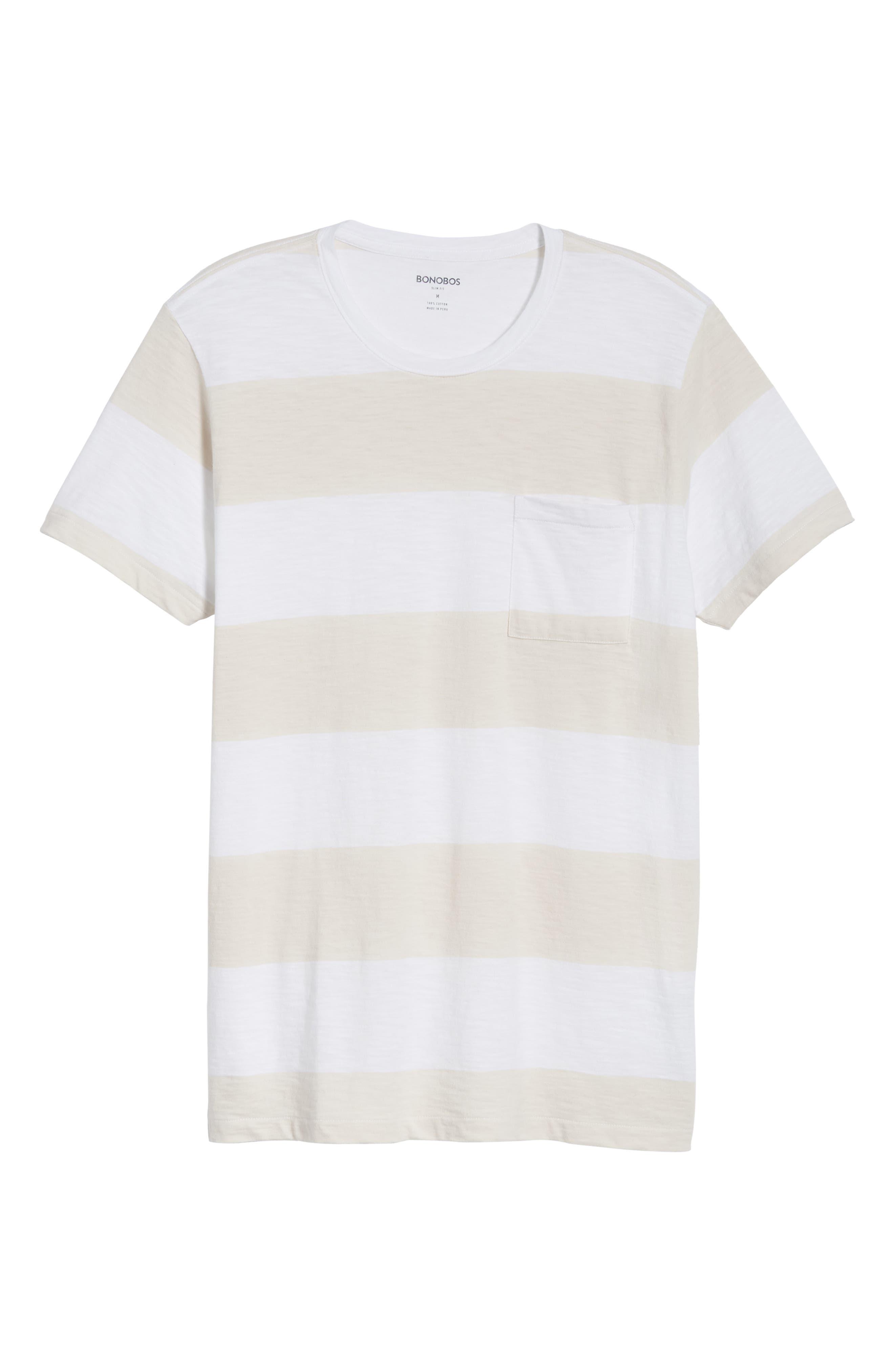 Block Stripe Slim Fit Pocket T-Shirt,                             Alternate thumbnail 6, color,                             White/ Seashell