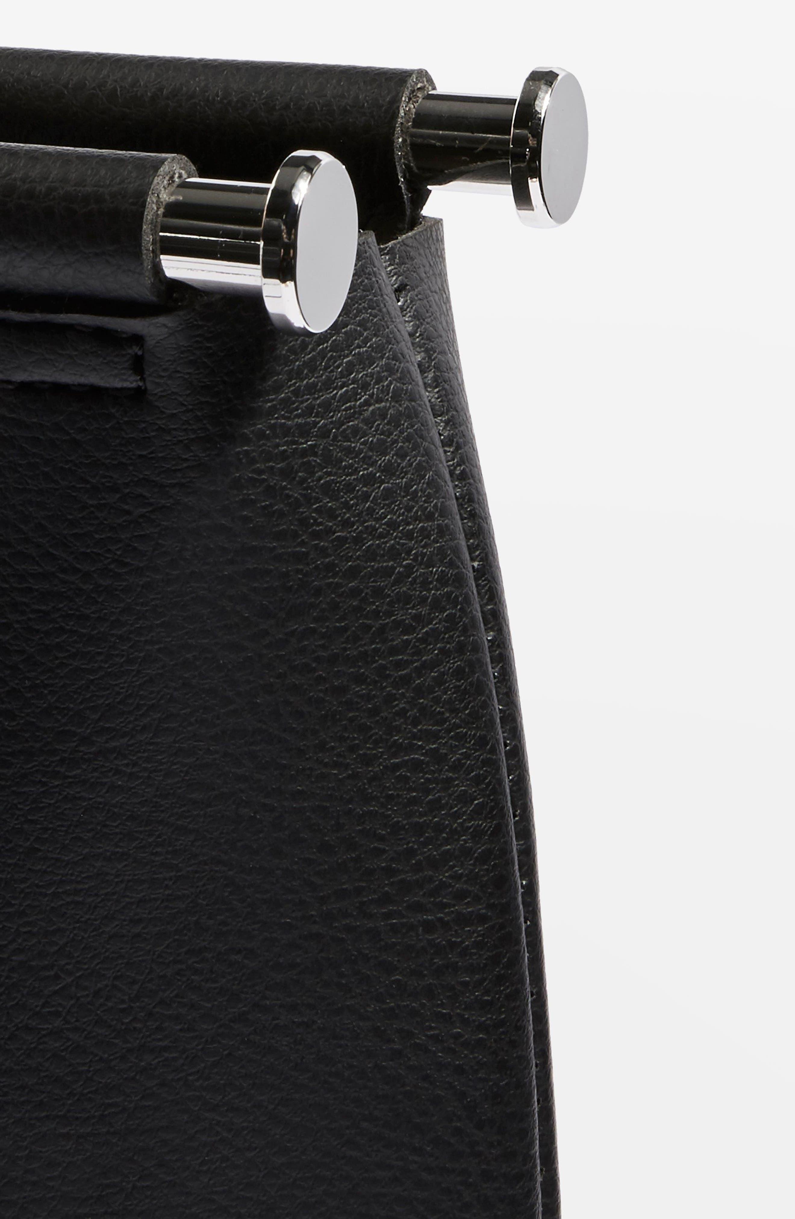 Lotus Metal Handle Clutch Bag,                             Alternate thumbnail 5, color,                             Black