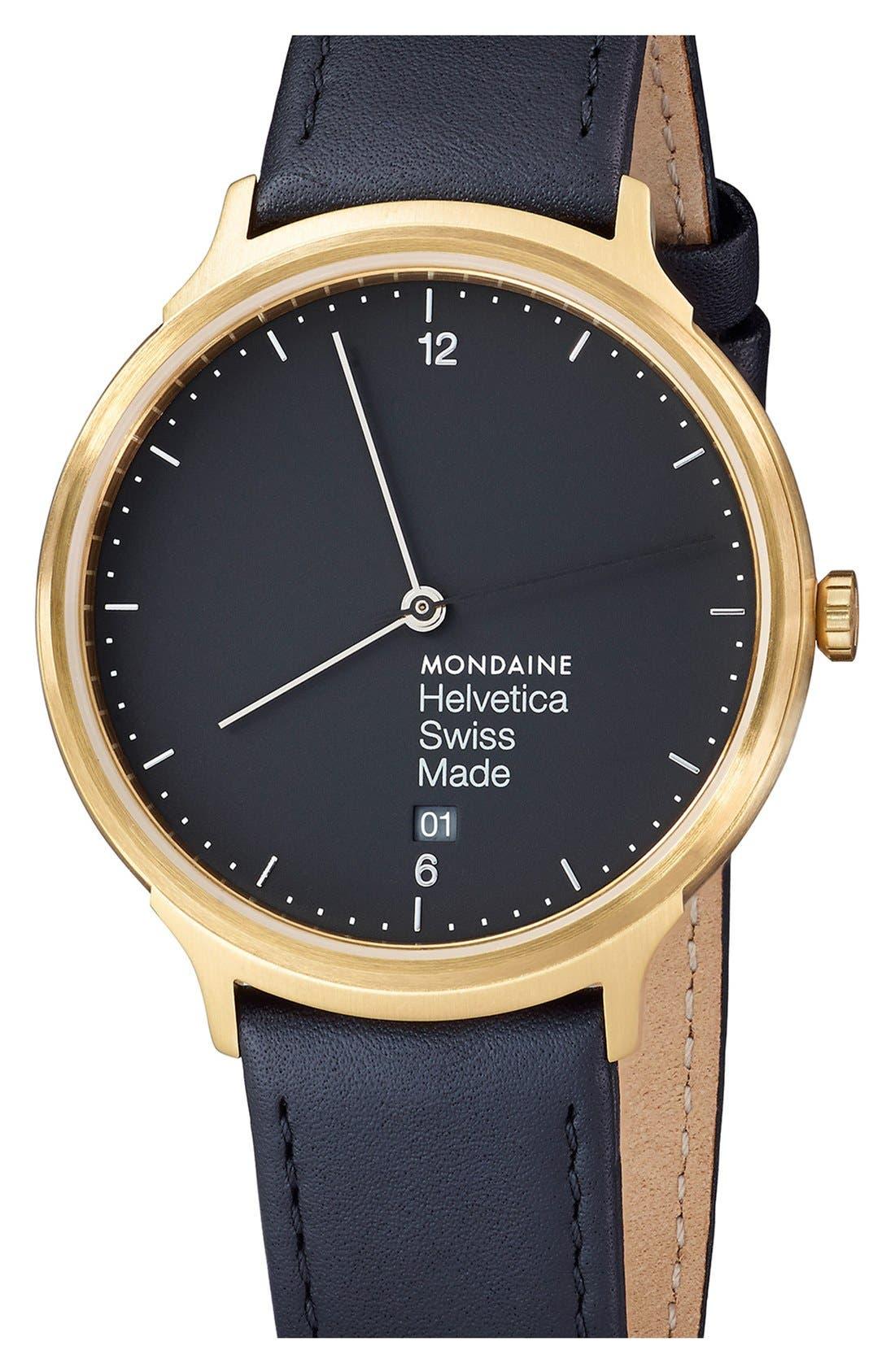 MONDAINE Helvetica No.1 Light Round Leather Strap Watch, 38mm
