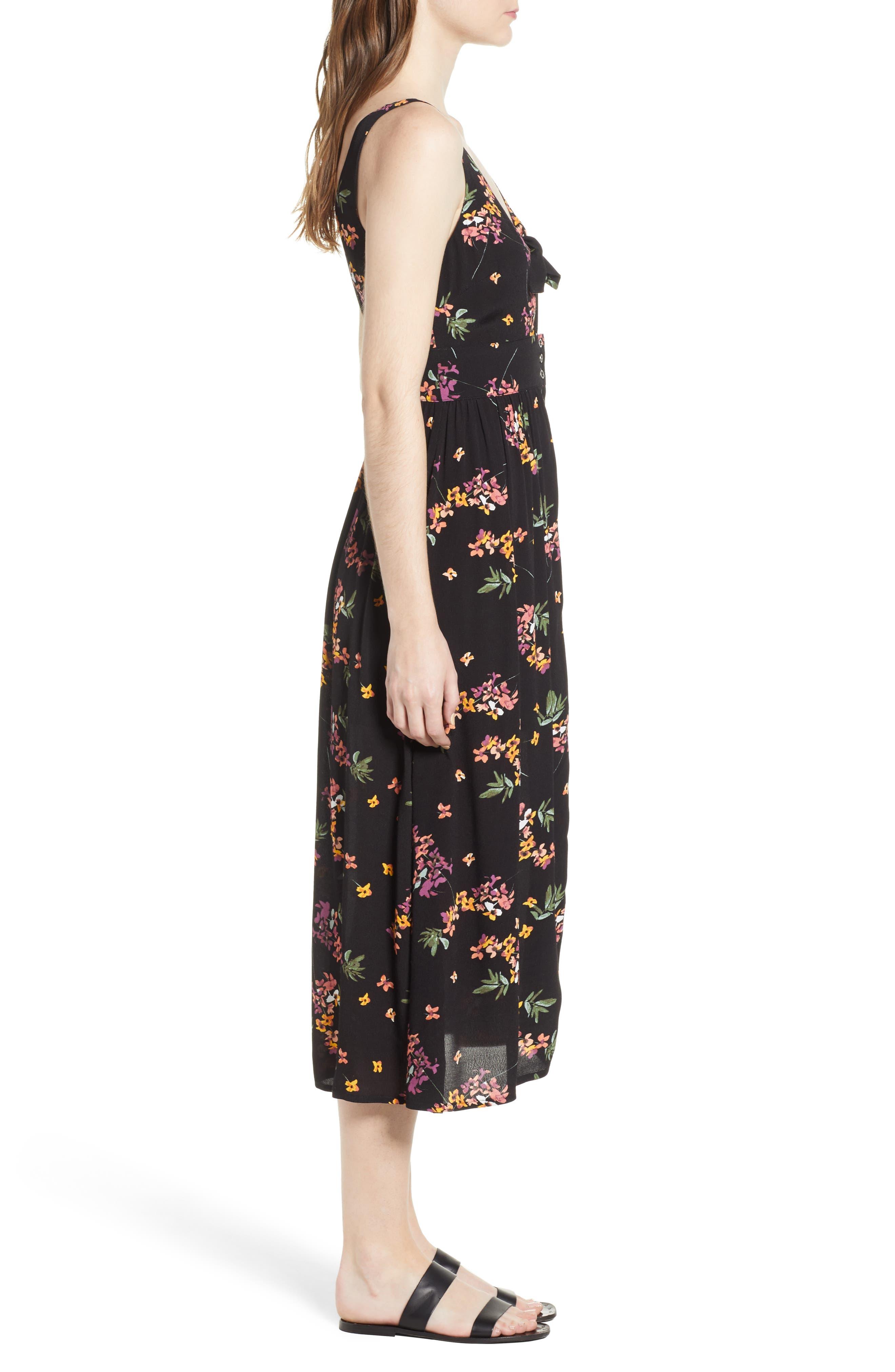 Floral Midi Dress,                             Alternate thumbnail 7, color,                             Black Floral